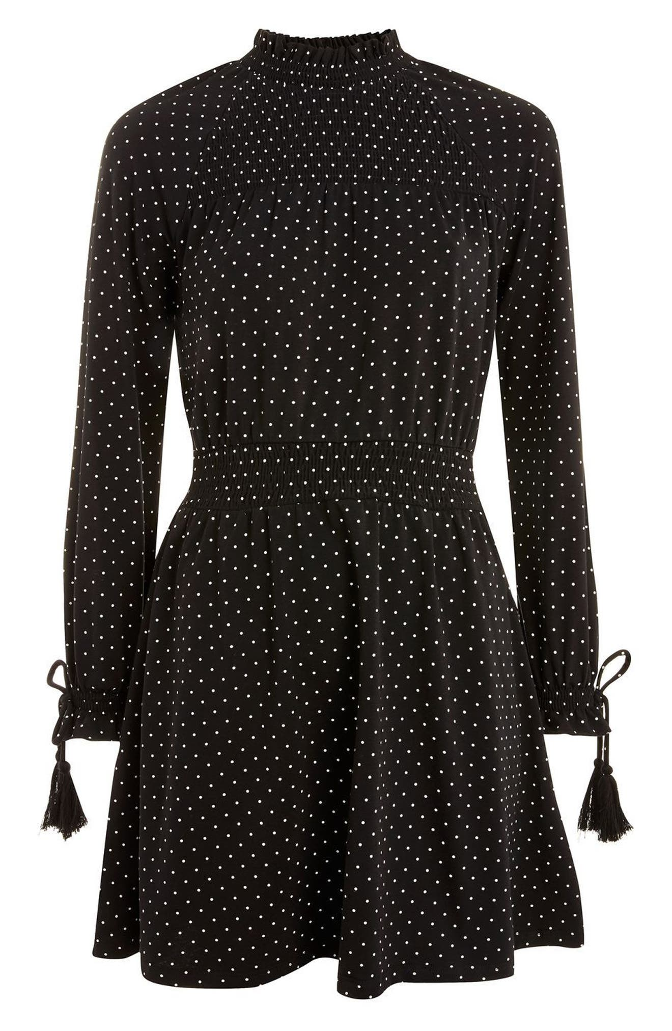 Polka Dot Shirred Waist Dress,                             Alternate thumbnail 4, color,                             001