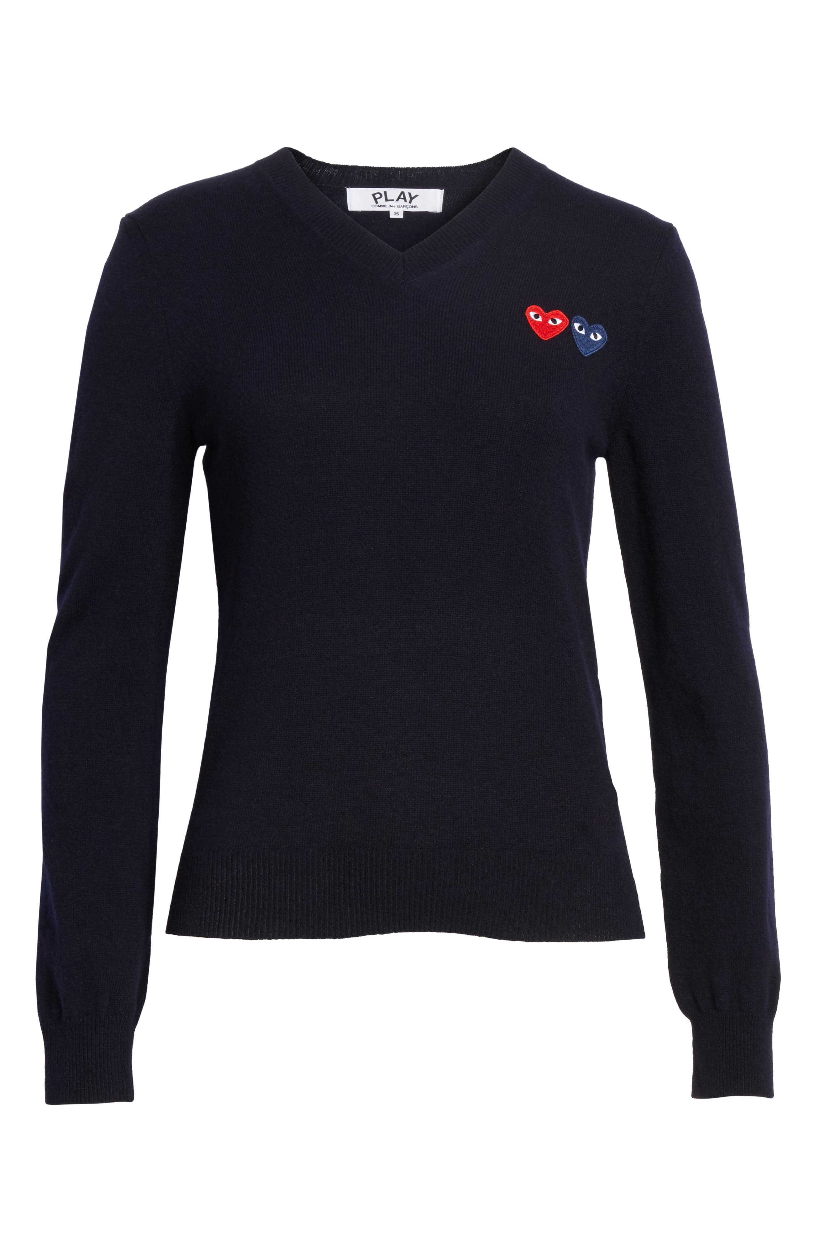 PLAY Double Heart Wool Sweater,                             Alternate thumbnail 6, color,