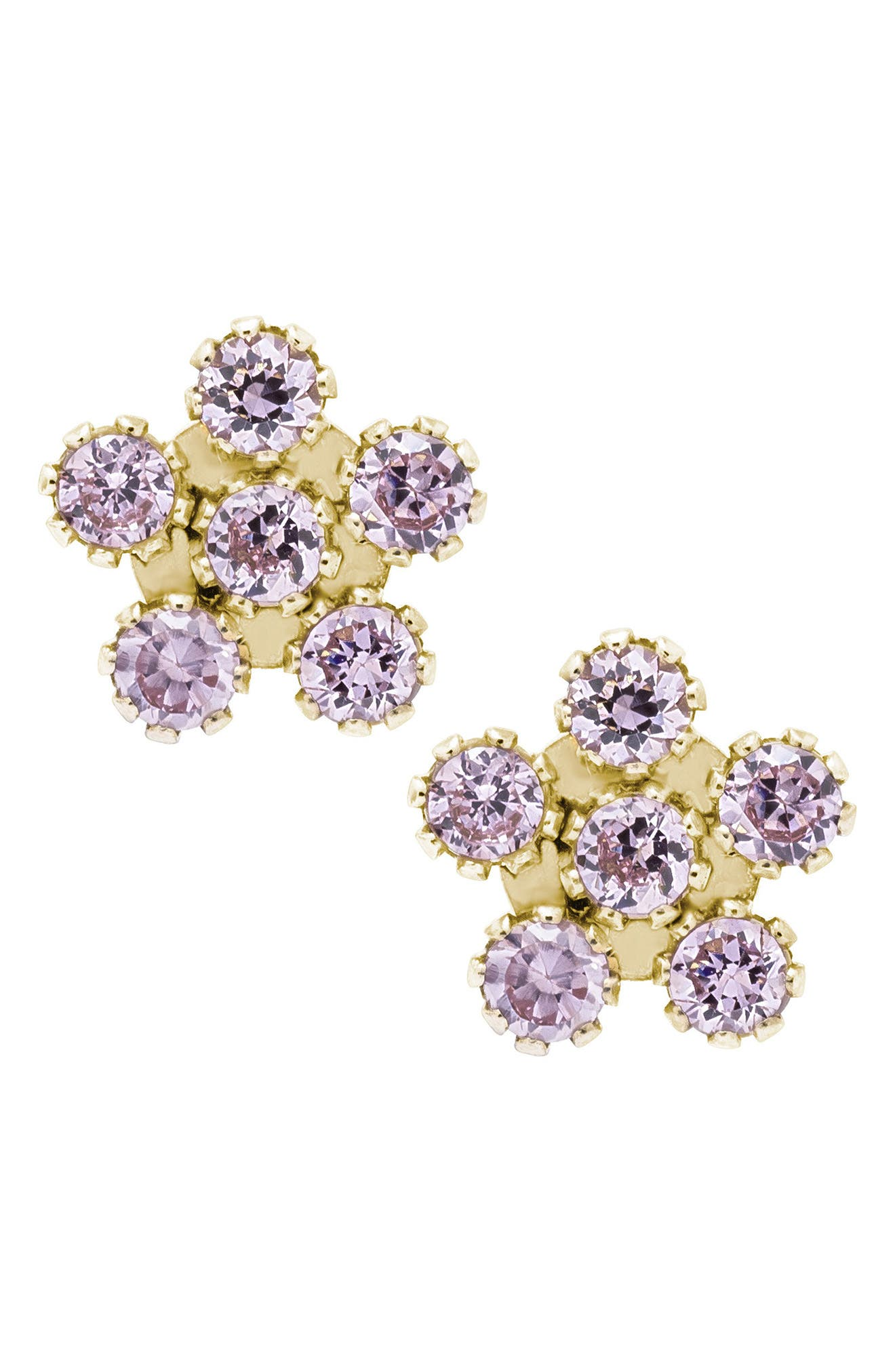 14k Gold & Cubic Zirconia Flower Earrings,                             Main thumbnail 1, color,                             PINK/ GOLD