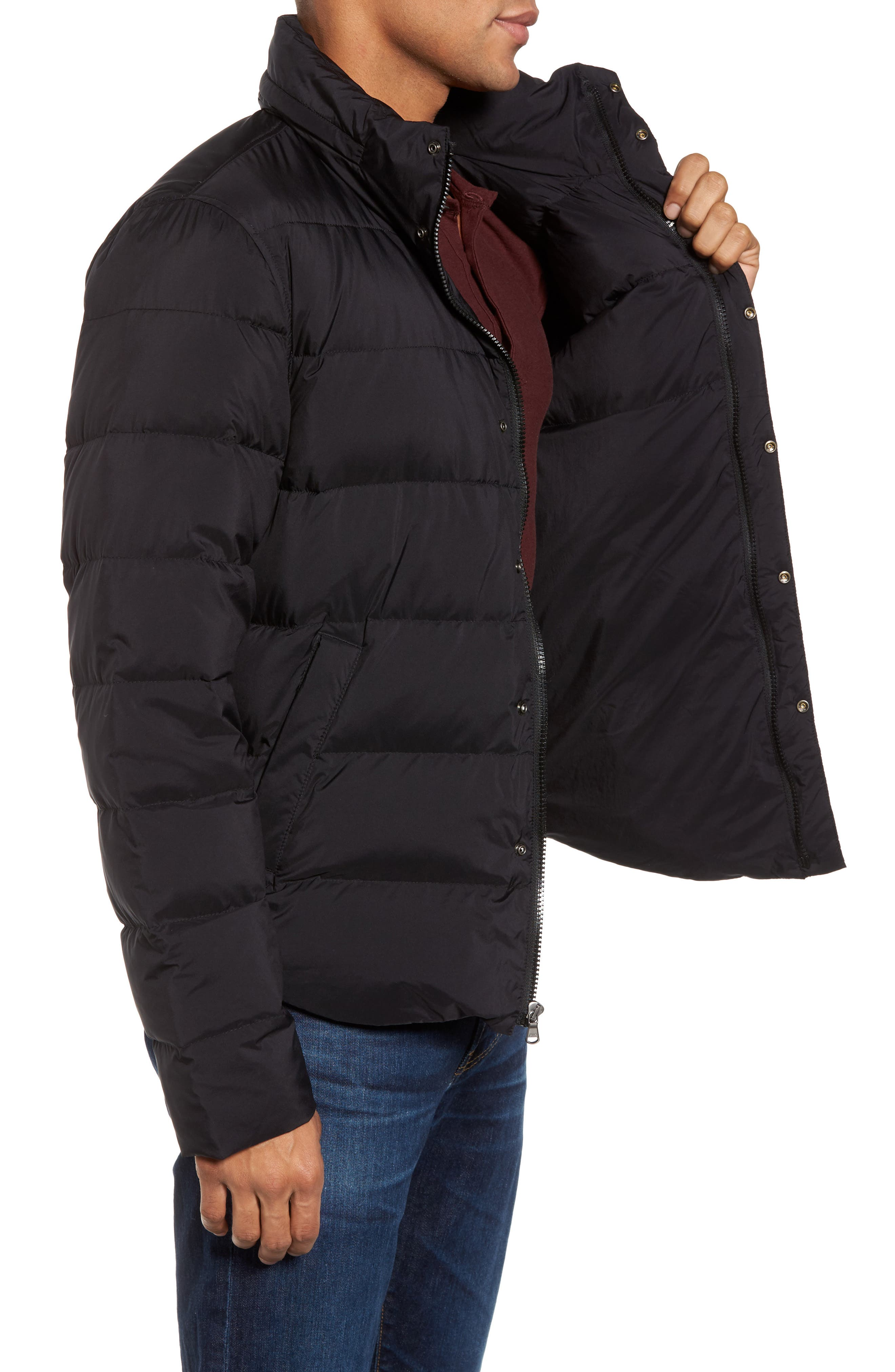 Quilted Down Jacket,                             Alternate thumbnail 3, color,                             001