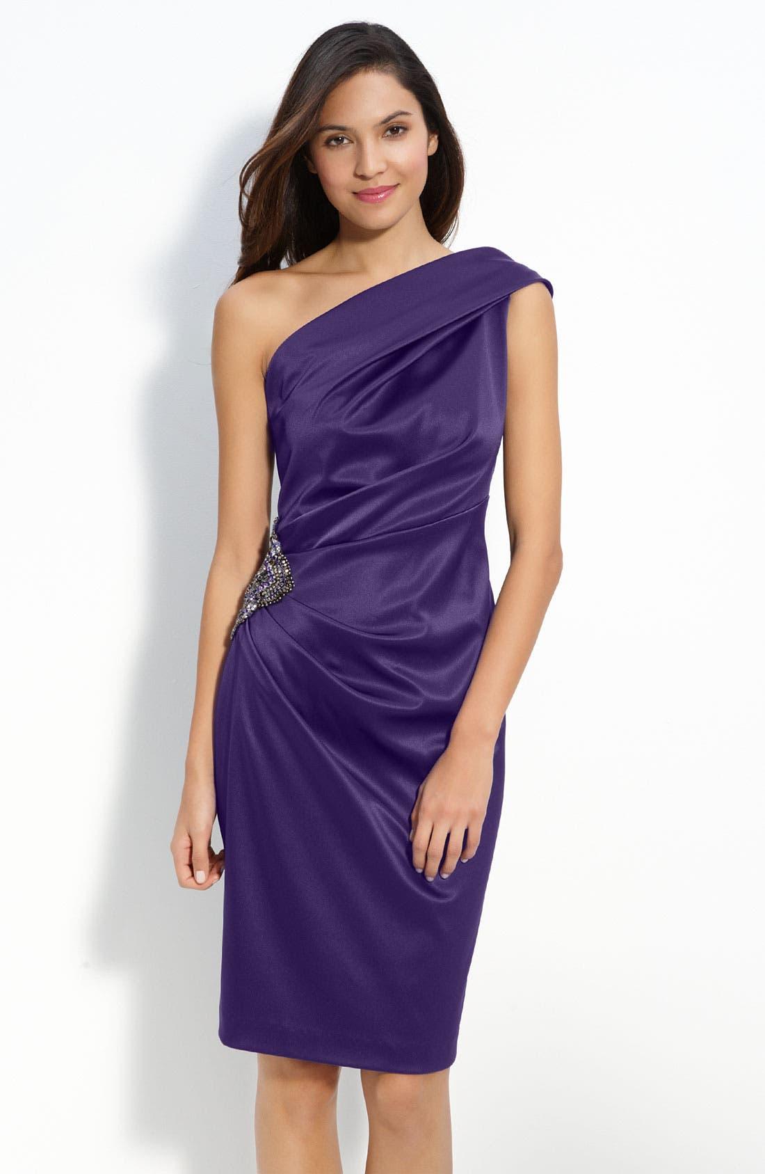 Beaded One-Shoulder Satin Dress,                             Main thumbnail 5, color,