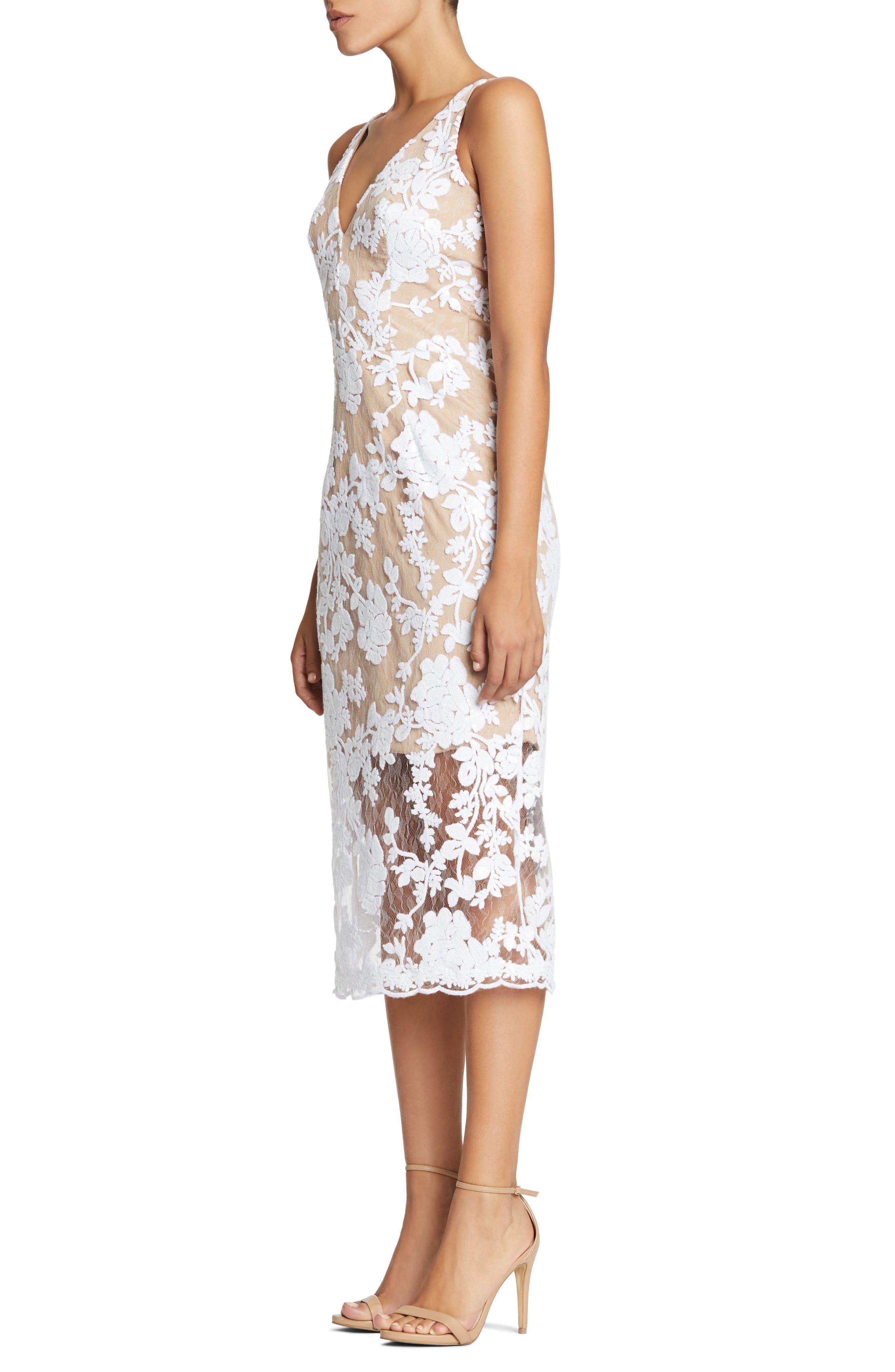 Rebecca Floral Lace Midi Dress,                             Alternate thumbnail 6, color,