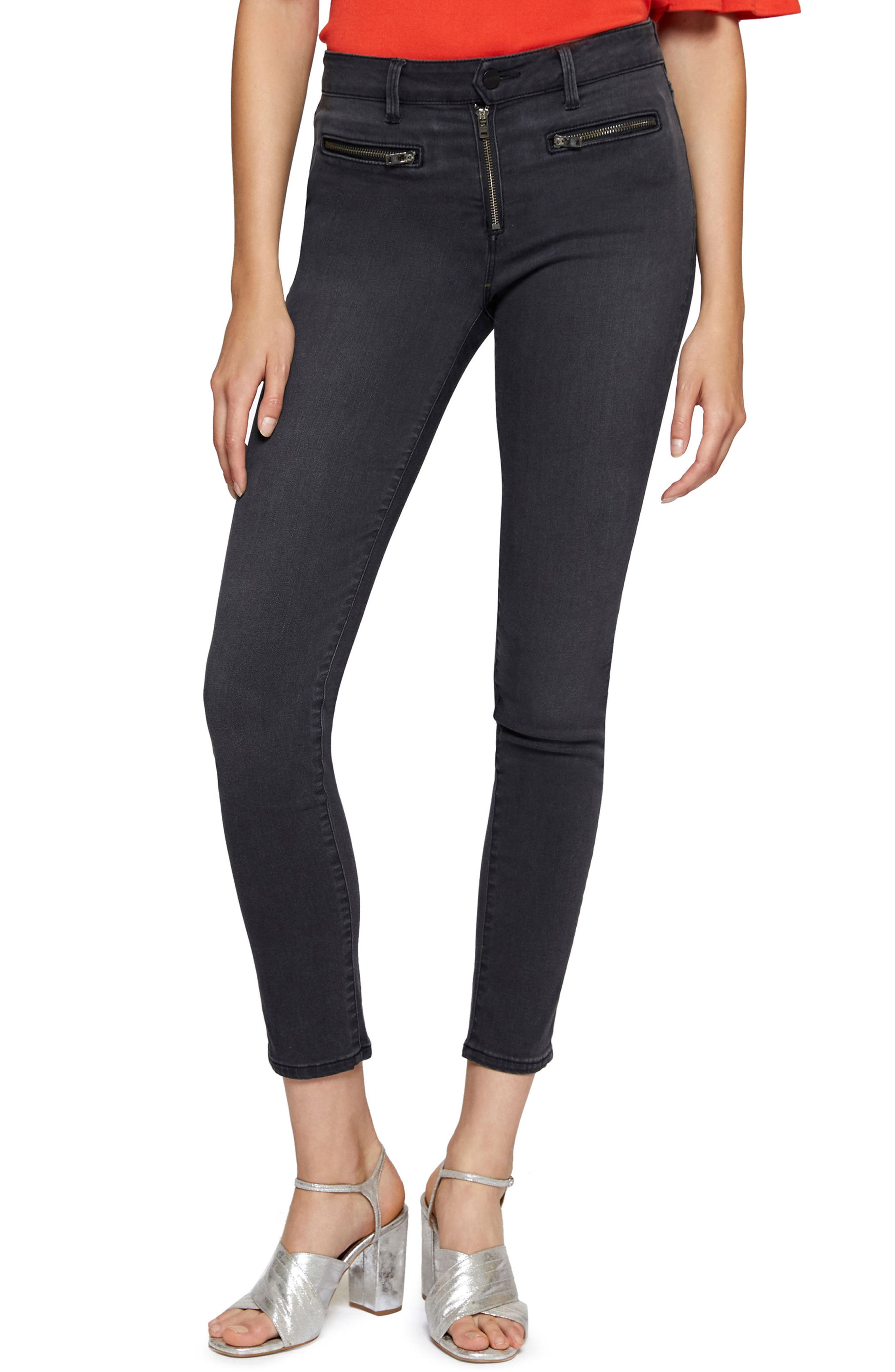 Lots of Zips Robbie High Skinny Jeans,                             Main thumbnail 1, color,