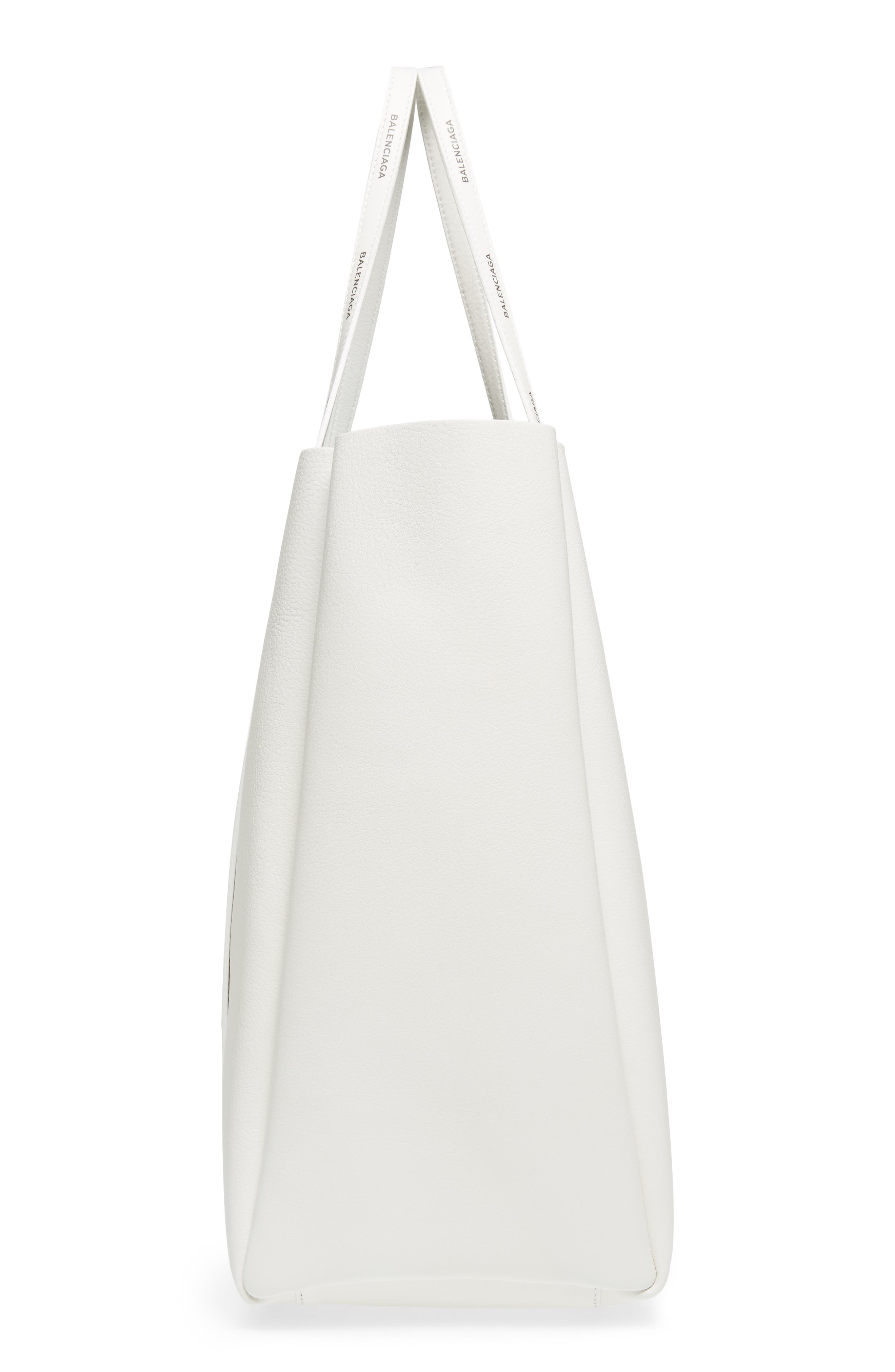 Medium Everyday Calfskin Tote,                             Alternate thumbnail 5, color,                             BLANC/ BLACK