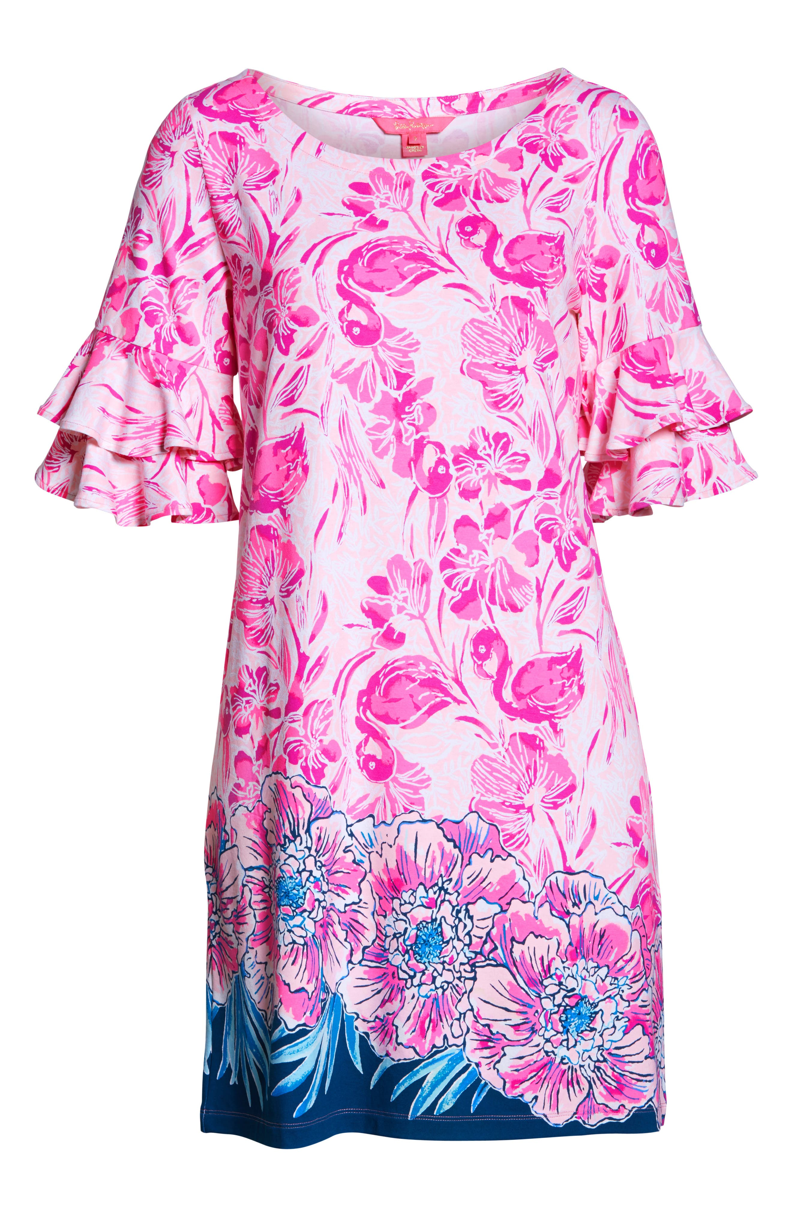 LILLY PULITZER<SUP>®</SUP>,                             Lula Shift Dress,                             Alternate thumbnail 7, color,                             CORAL REEF TINT FLAMINGLE