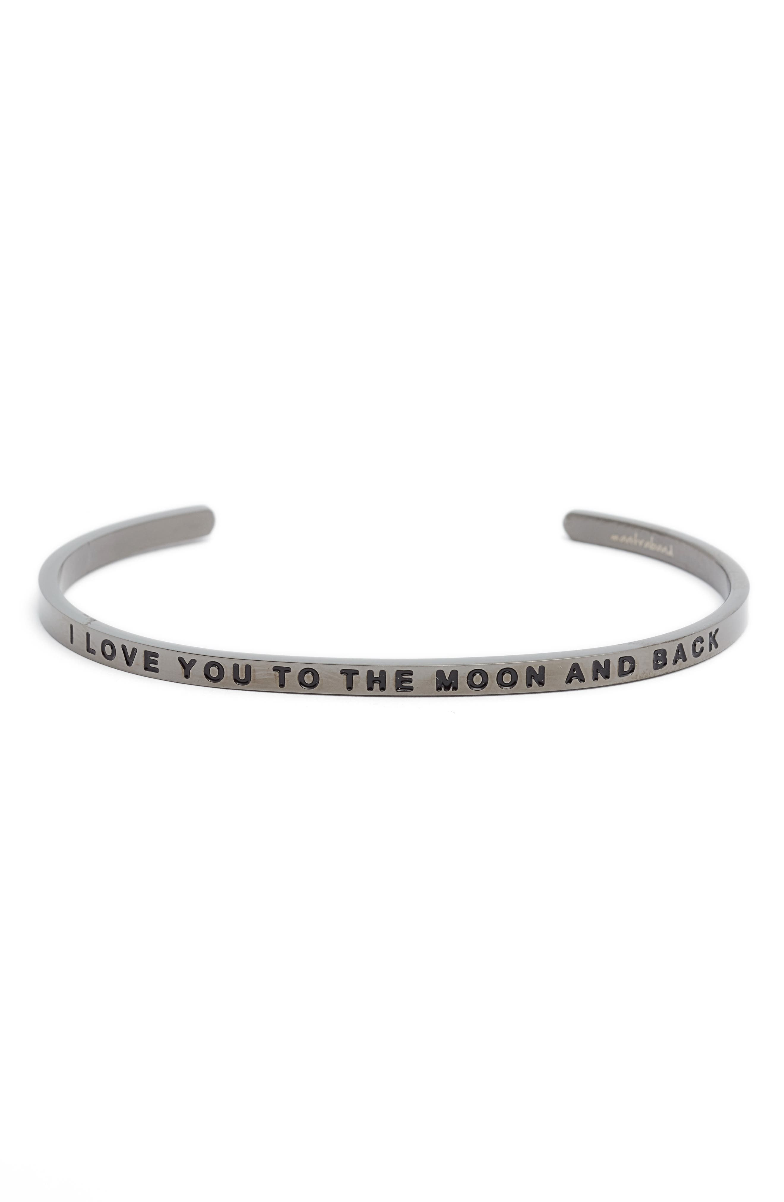 'I Love You to the Moon and Back' Cuff,                         Main,                         color, MOON GRAY