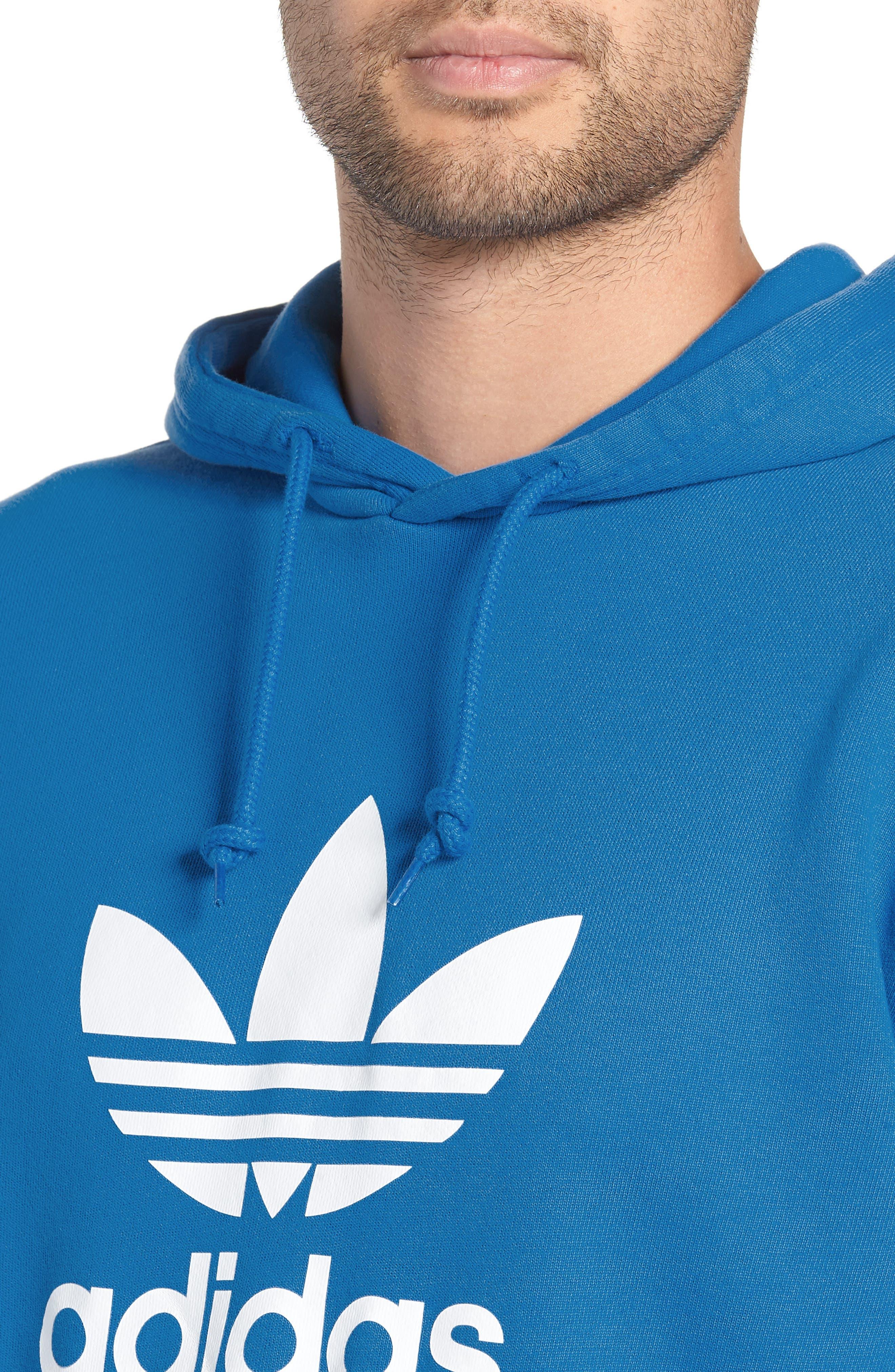 Trefoil Logo Pullover Hoodie,                             Alternate thumbnail 4, color,                             BLUEBIRD