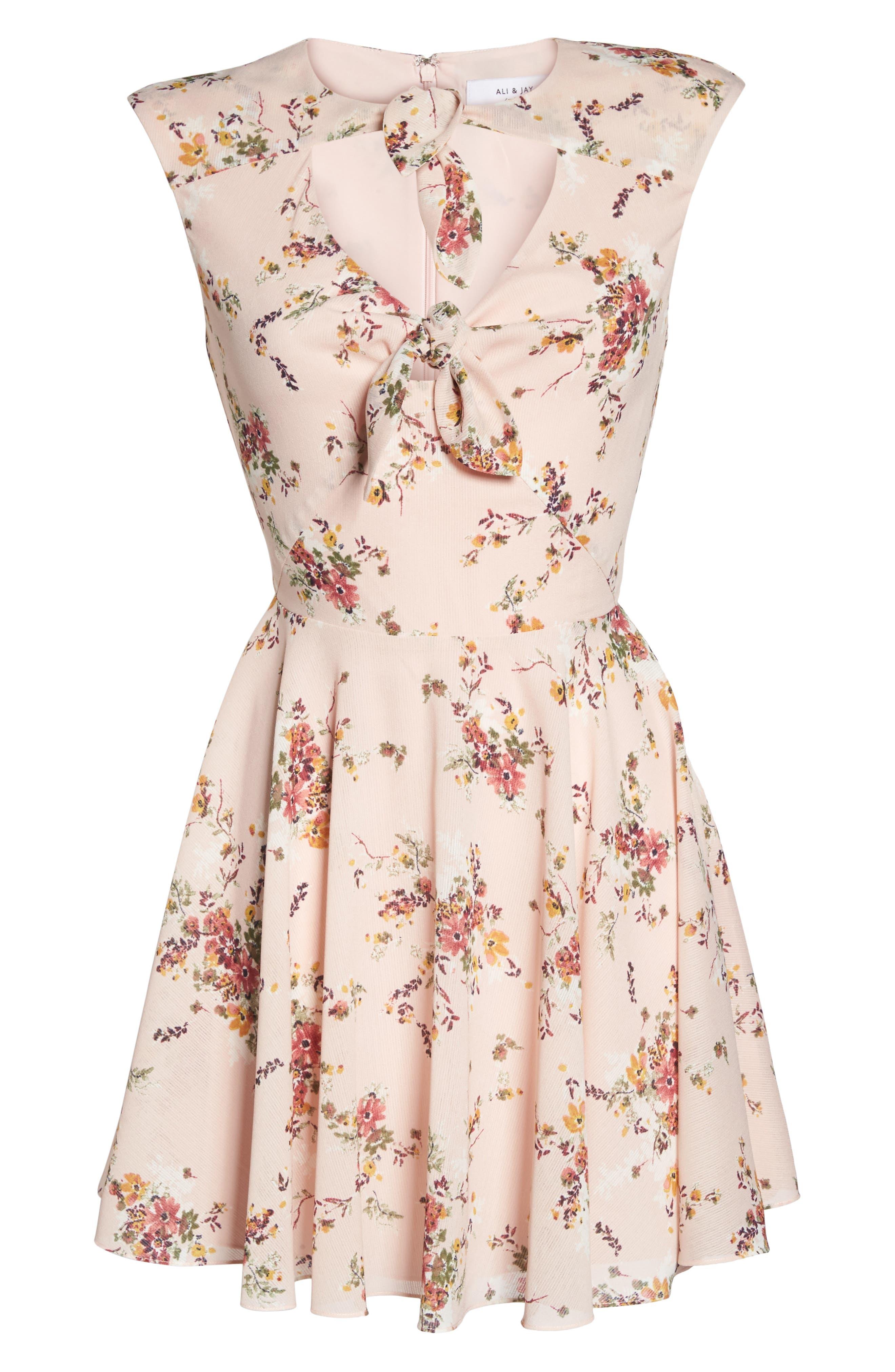 El Cid Floral Tie Front Minidress,                             Alternate thumbnail 7, color,
