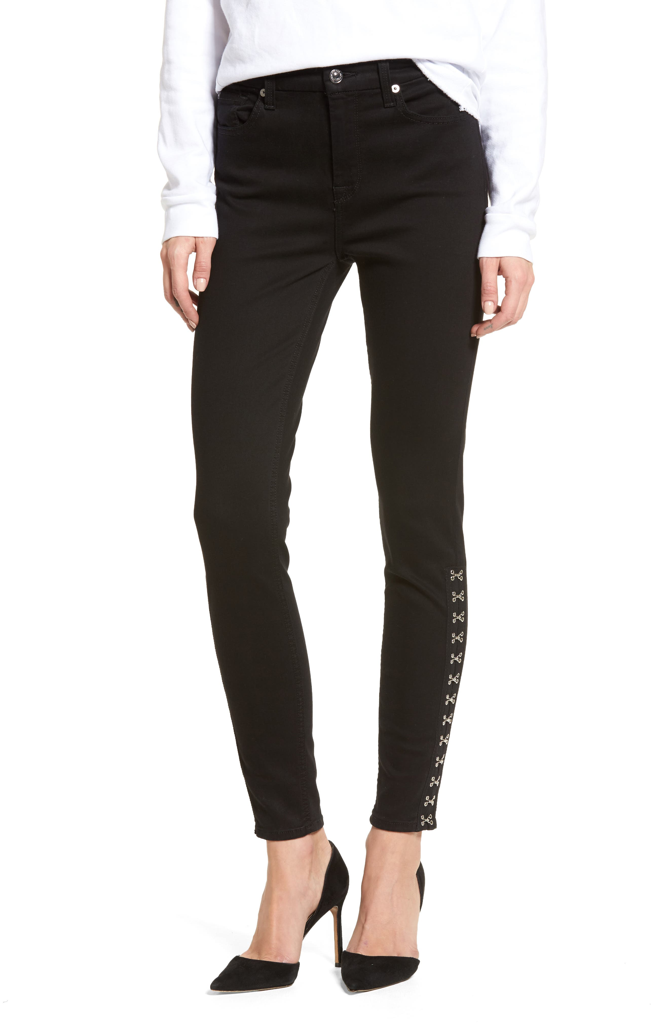 Hook Hem High Waist Ankle Skinny Jeans,                         Main,                         color, 004