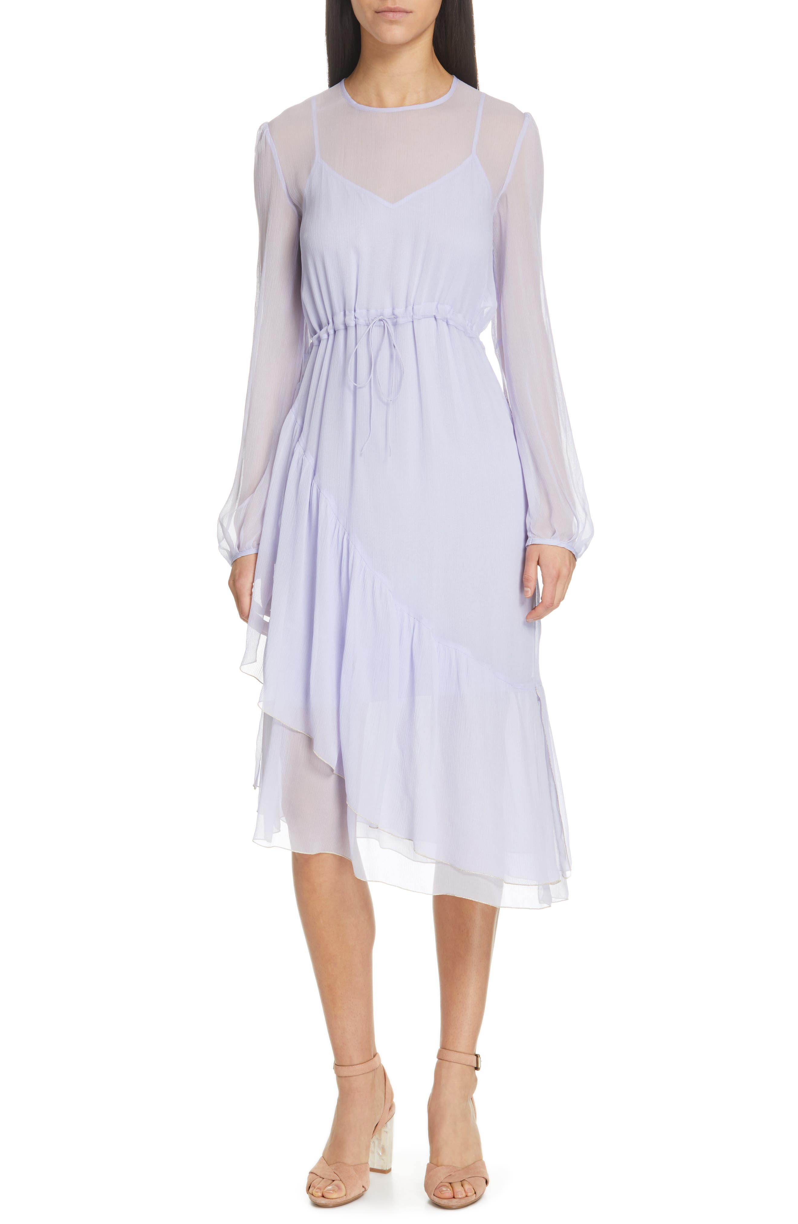 Asymmetrical Silk Midi Dress,                             Main thumbnail 1, color,                             SOFTY LILAC