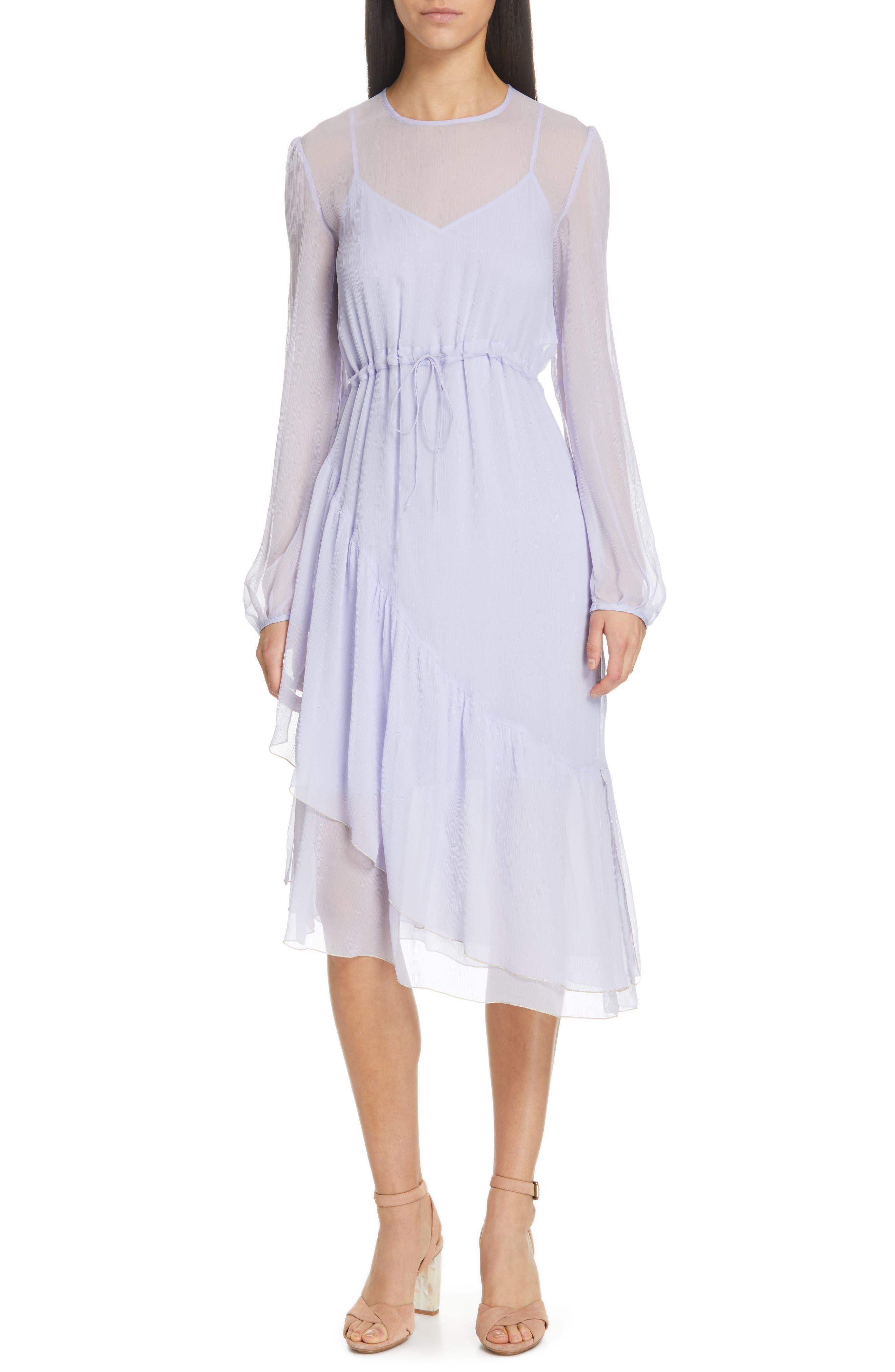 Asymmetrical Silk Midi Dress, Main, color, SOFTY LILAC