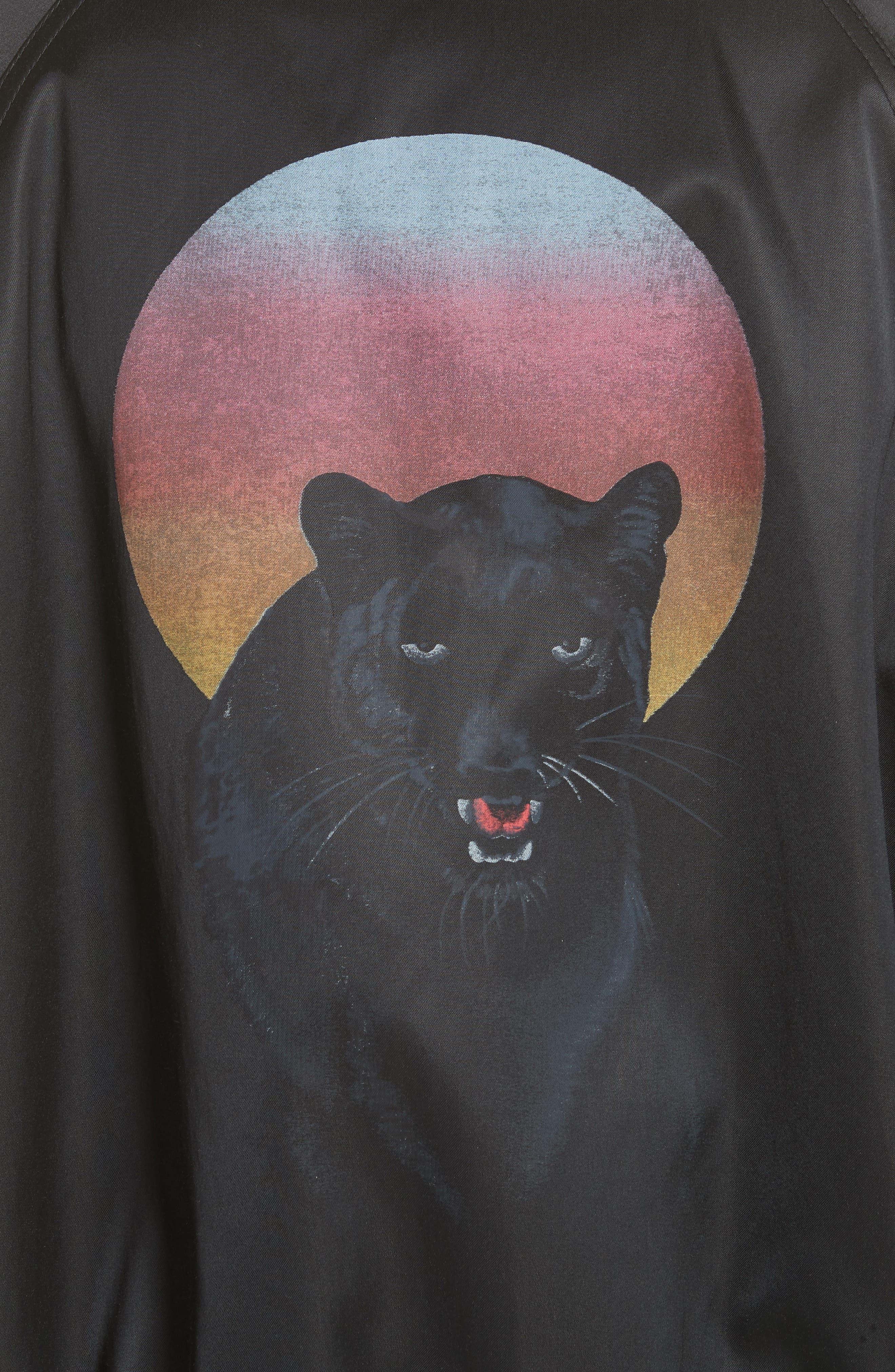 Panther Print Satin Bomber Jacket,                             Alternate thumbnail 6, color,                             006