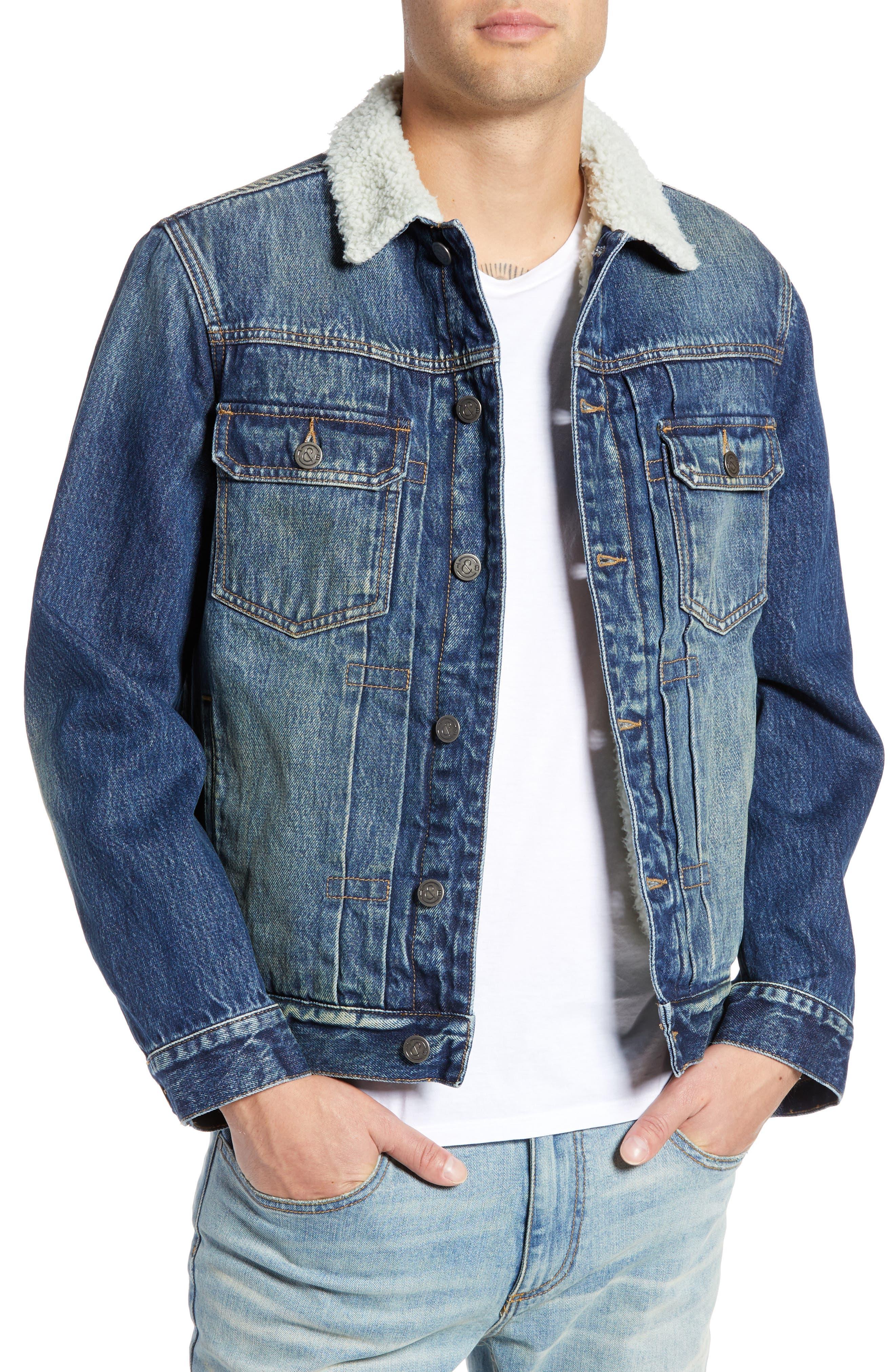 Denim Jacket with Faux Shearling Collar,                             Main thumbnail 1, color,                             BLUE MEDIUM DENIM
