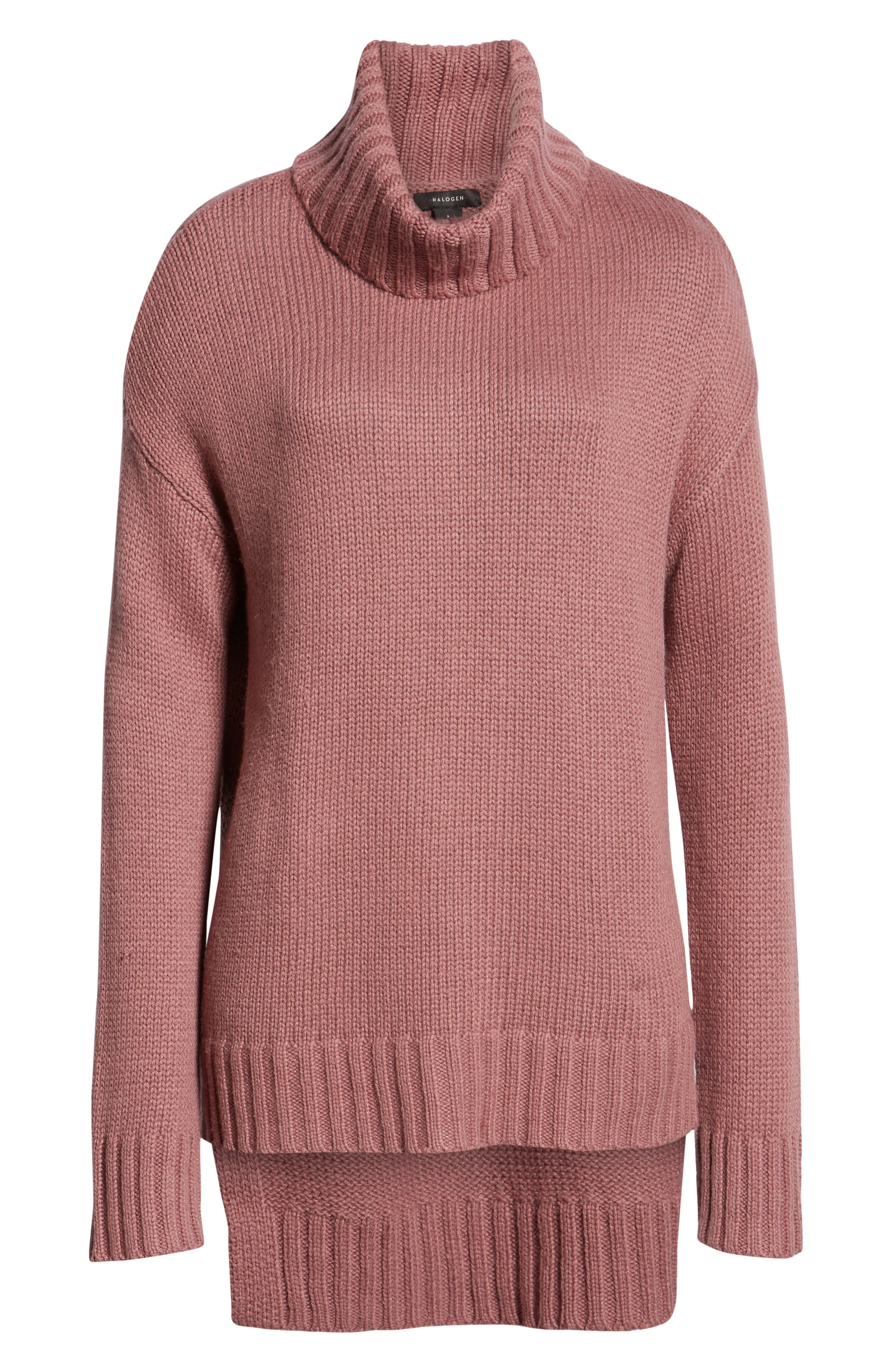 High/Low Turtleneck Sweater,                             Alternate thumbnail 6, color,                             PURPLE TAUPE