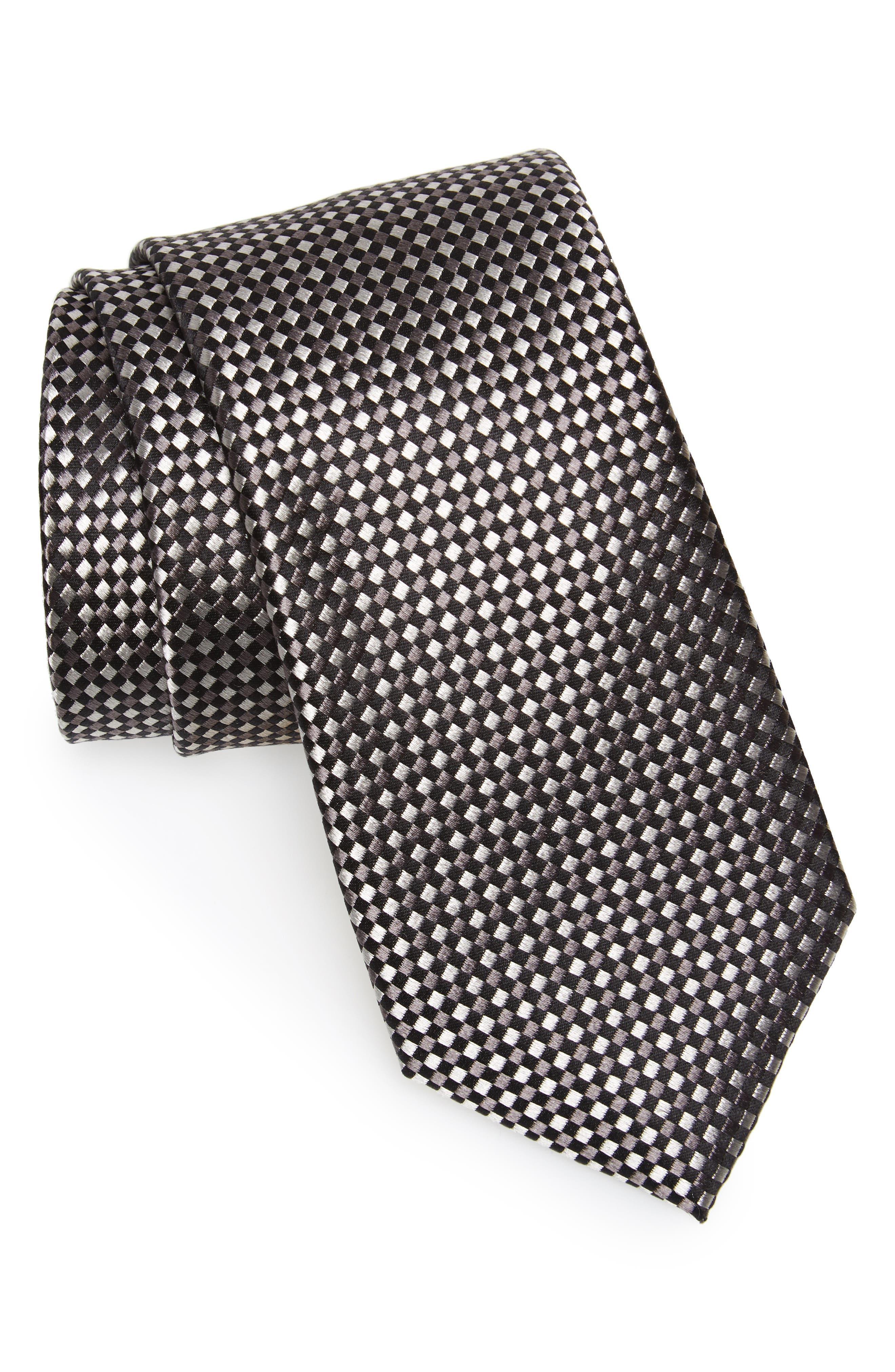 Norman Neat Silk Tie,                         Main,                         color, GREY