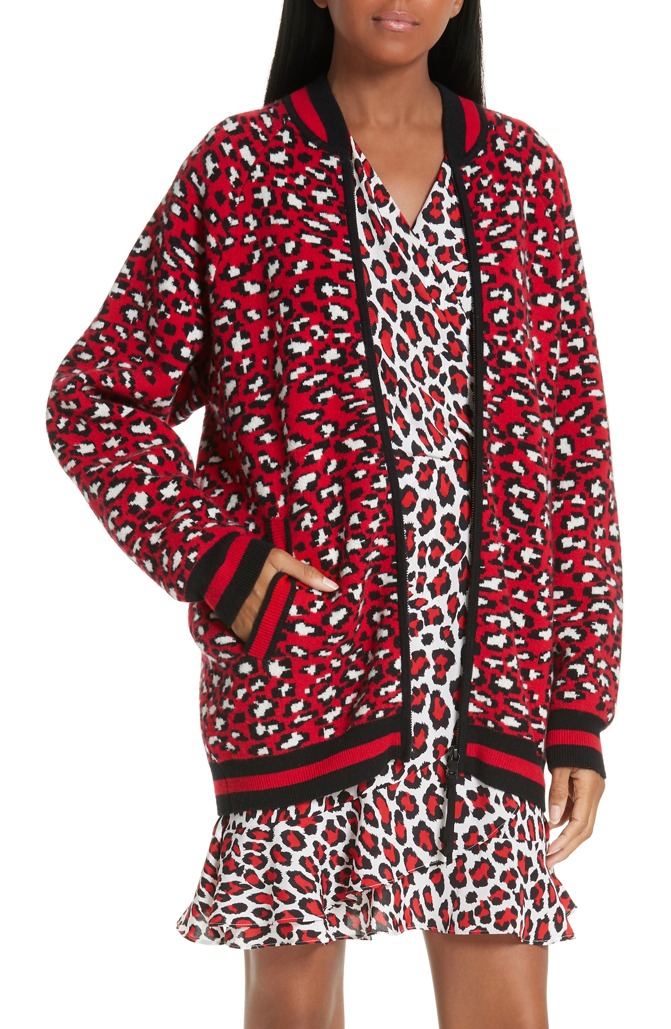 ROBERT RODRIGUEZ Constance Leopard Print Wool & Cashmere Blend Zip-Up Sweater in Red/ White/ Black