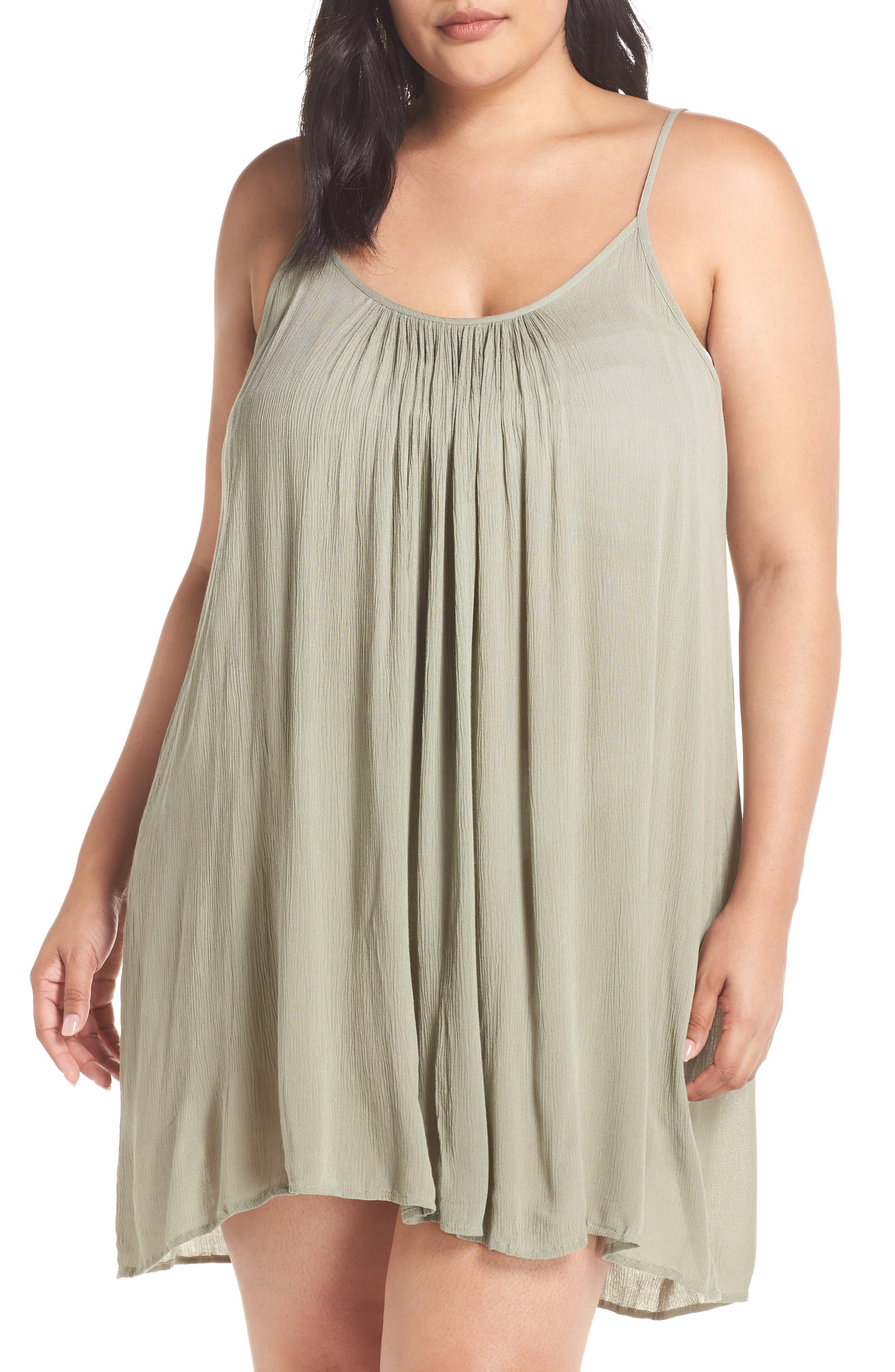 Plus Size Elan Cover-Up Dress, Green