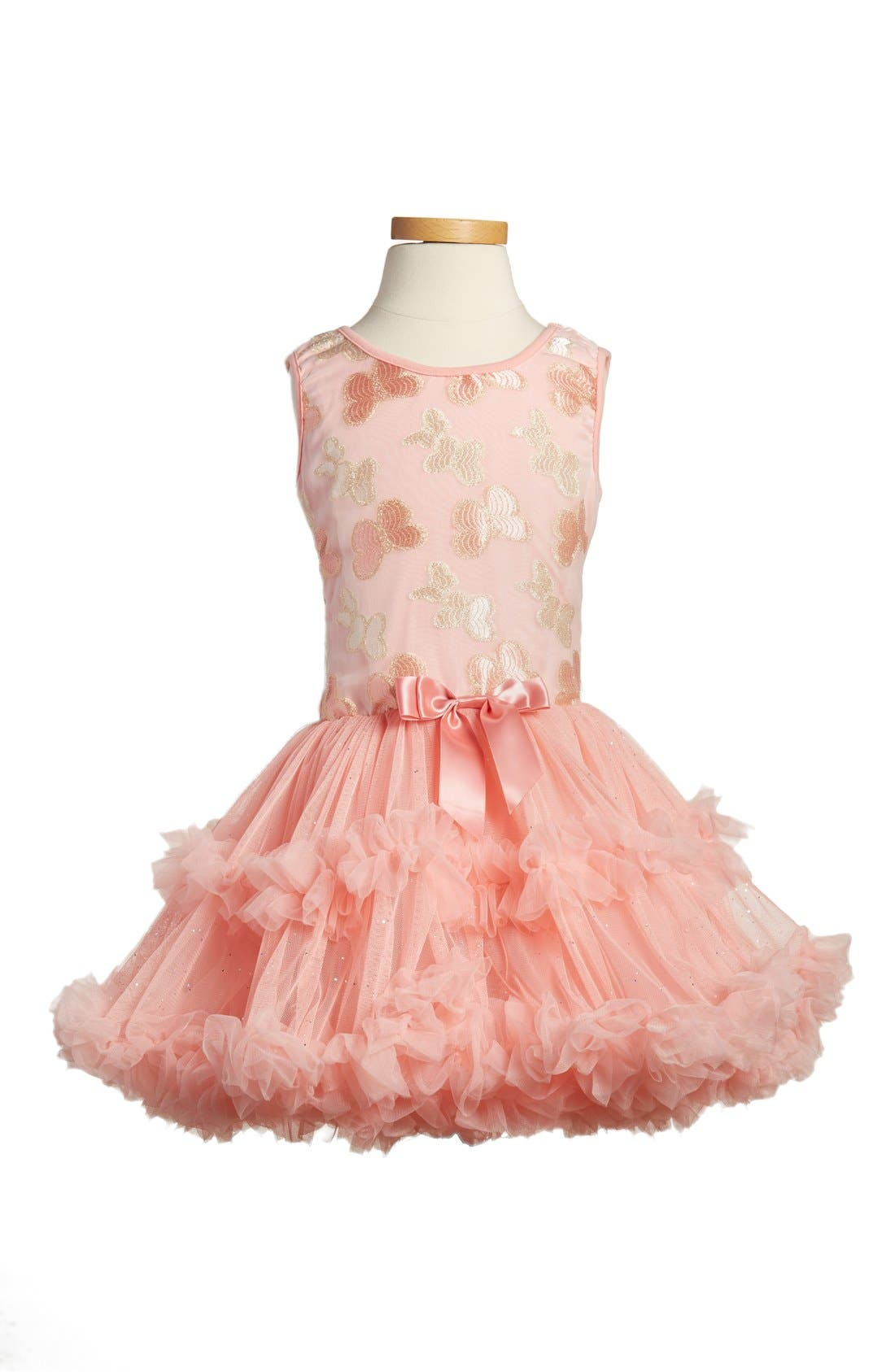 'Butterfly' Sleeveless Party Dress,                             Main thumbnail 1, color,                             PEACH