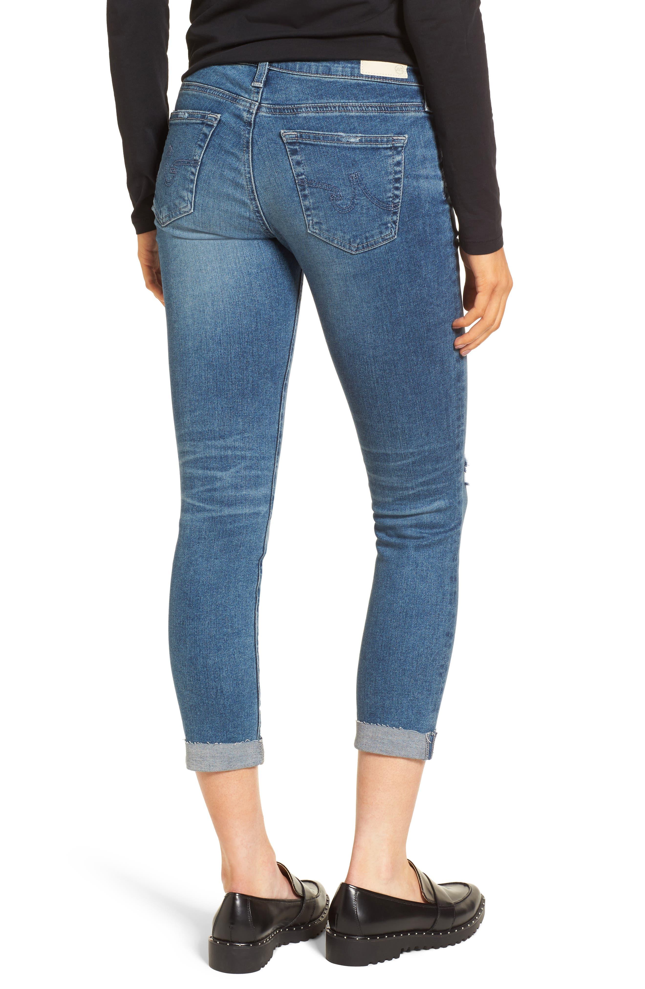 The Stilt Destructed Crop Skinny Jeans,                             Alternate thumbnail 2, color,