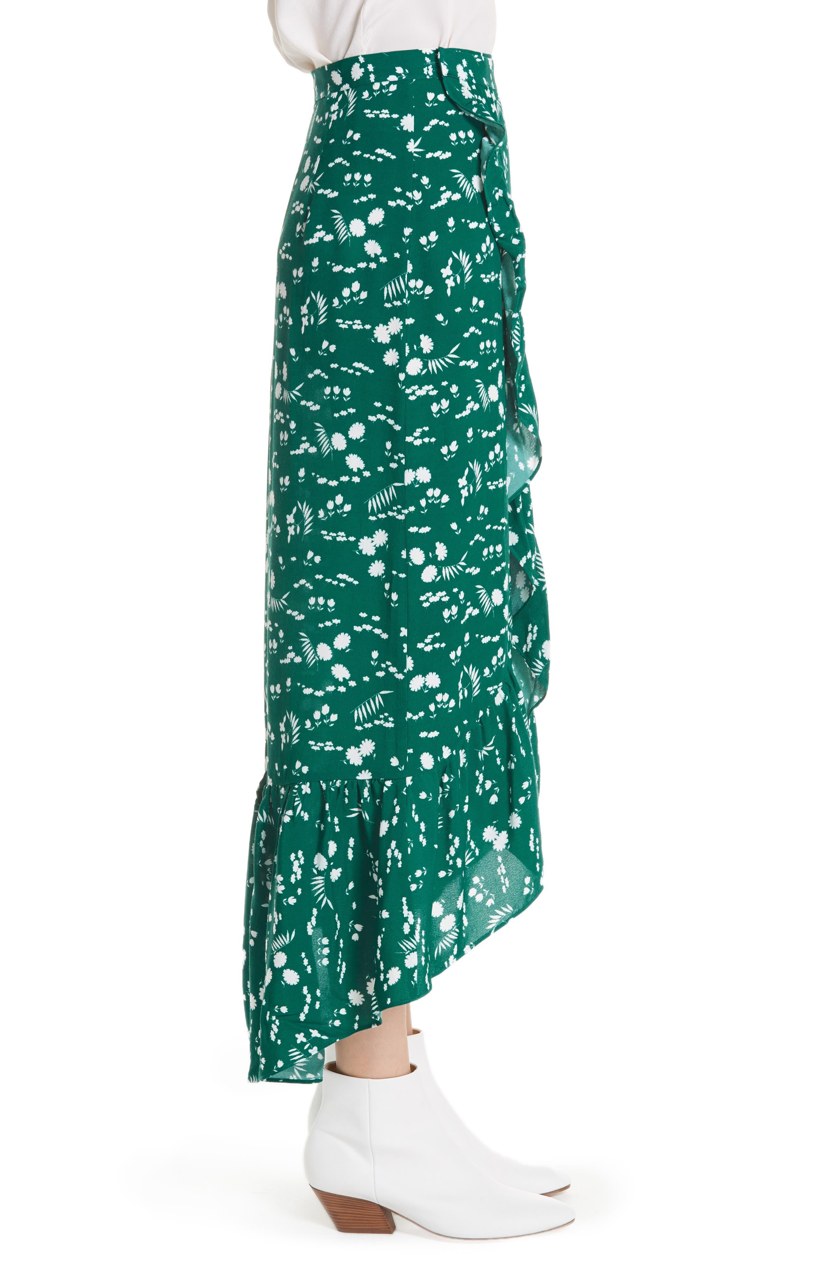 Floral High/Low Wrap Skirt,                             Alternate thumbnail 3, color,                             900