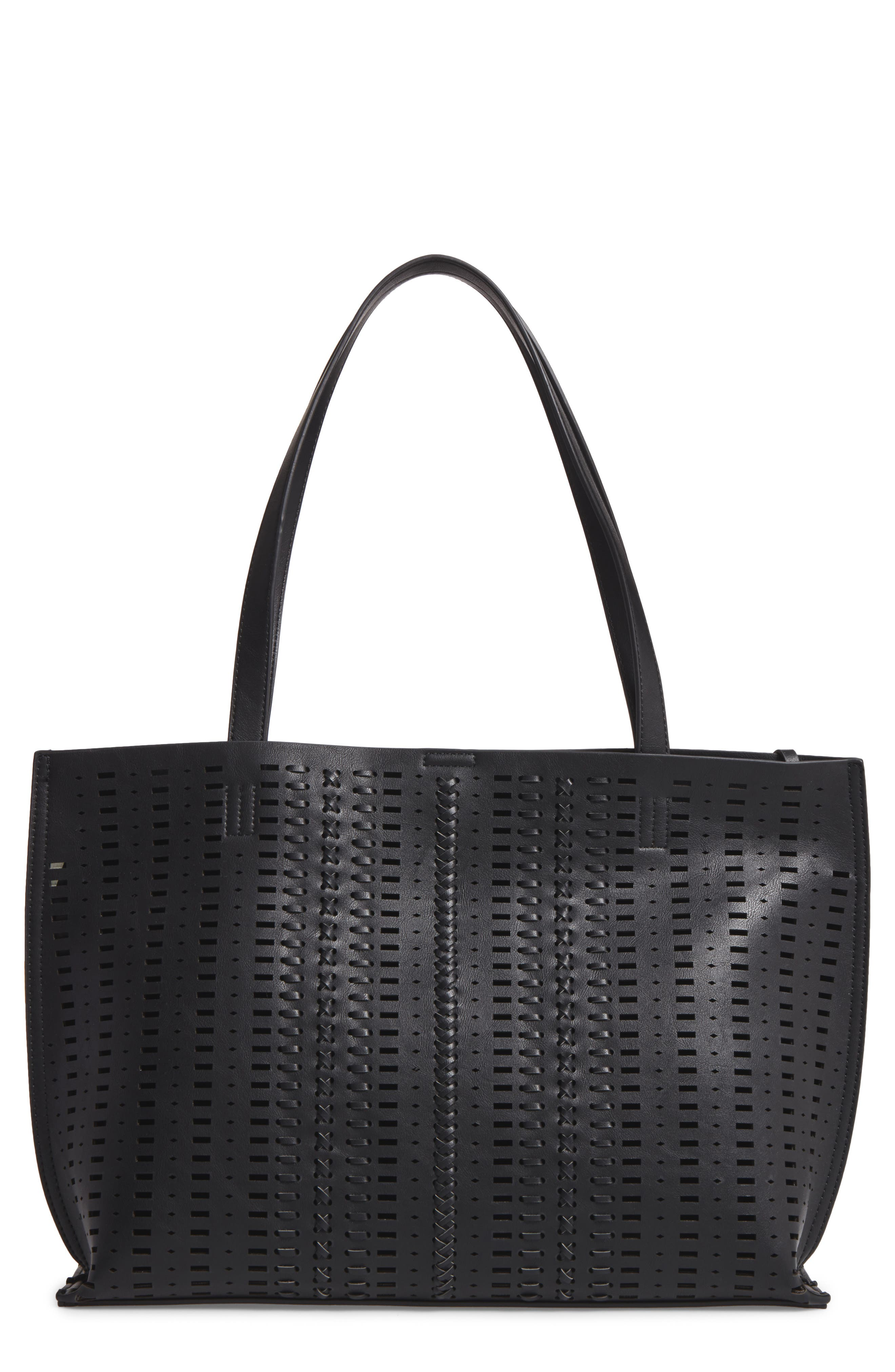 Woven Faux Leather Tote,                             Main thumbnail 1, color,                             001