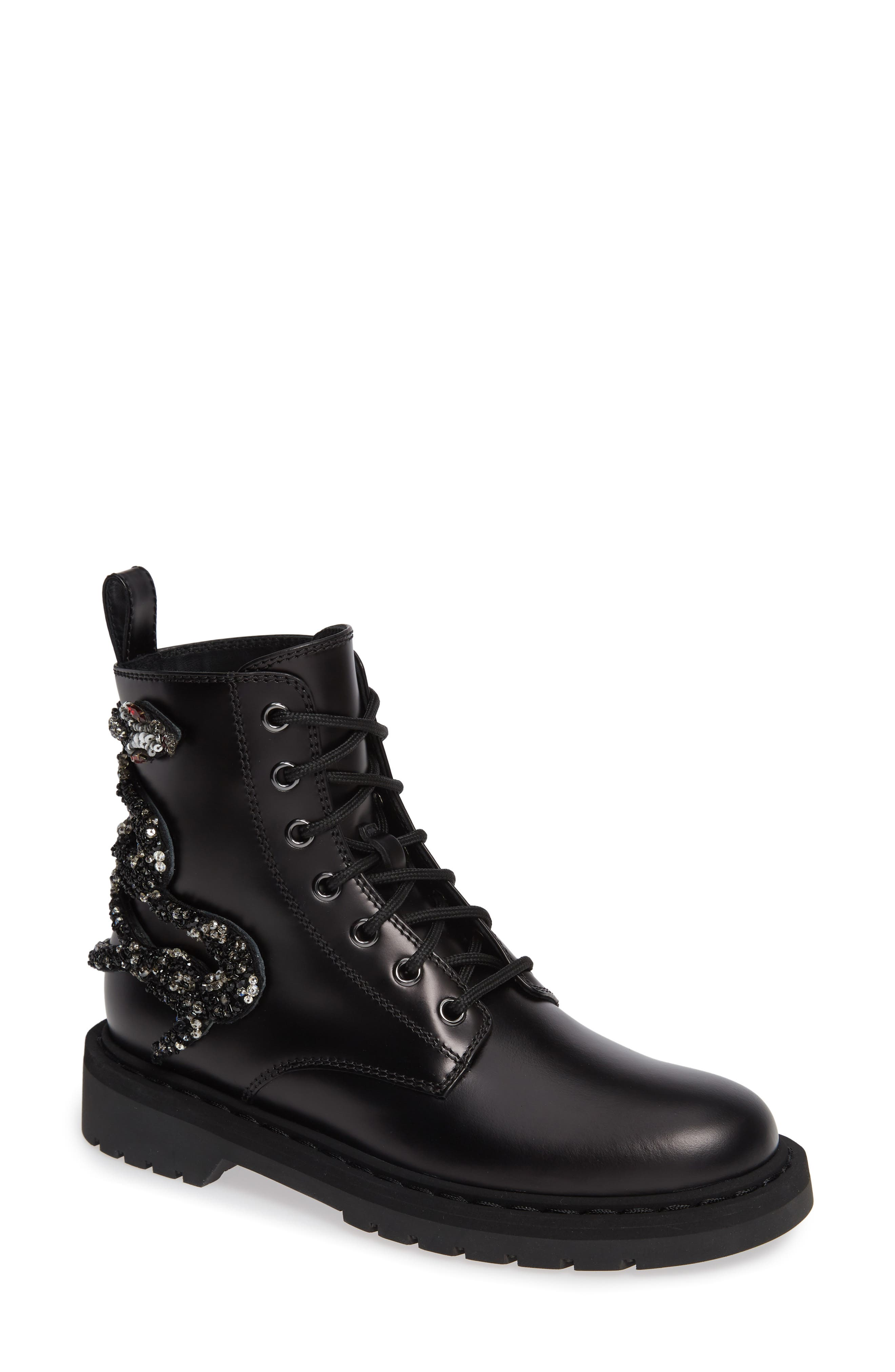 Snake Combat Boot,                         Main,                         color, BLACK