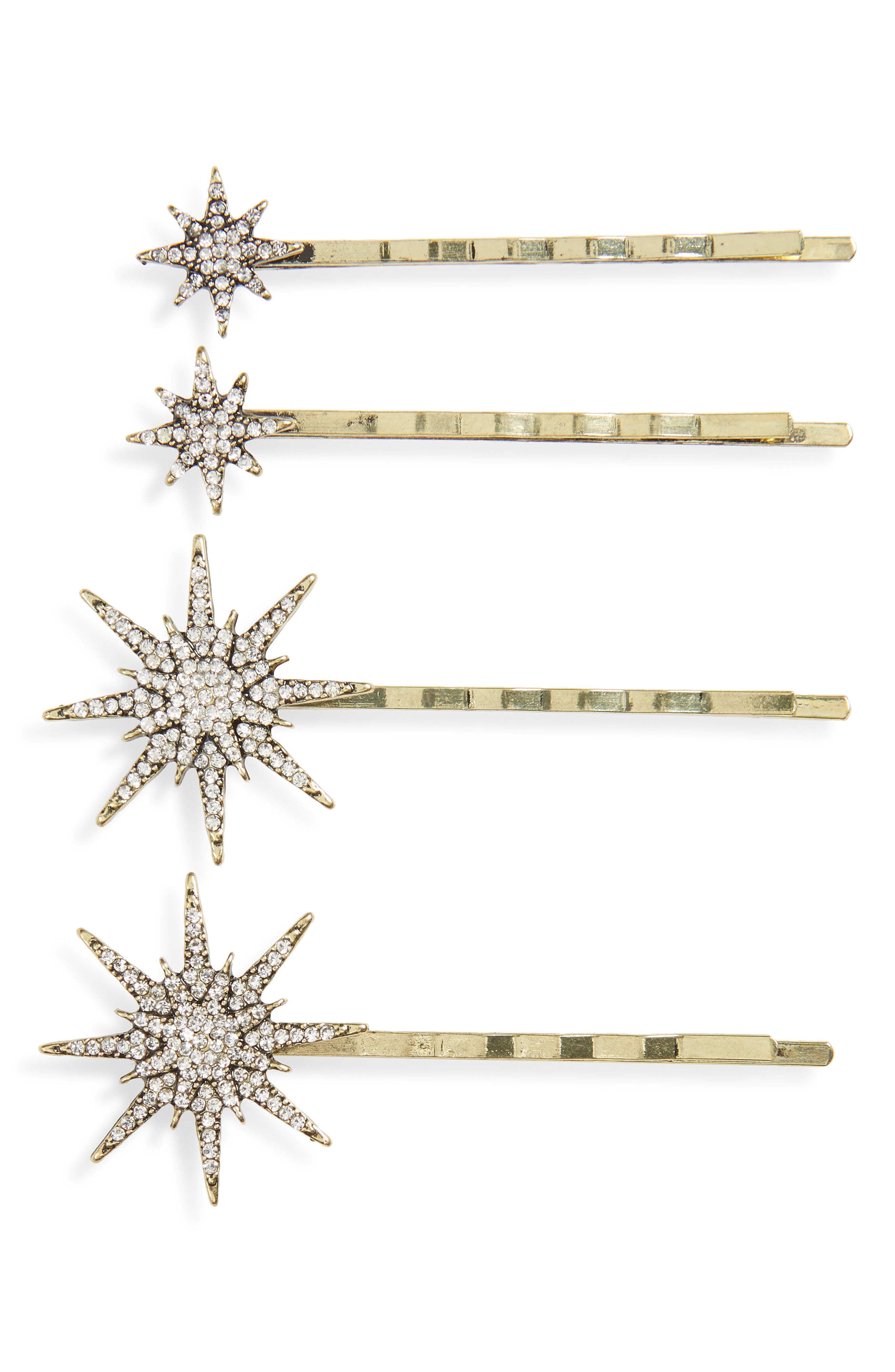 4-Pack Crystal Star Bobby Pins, Main, color, GOLD