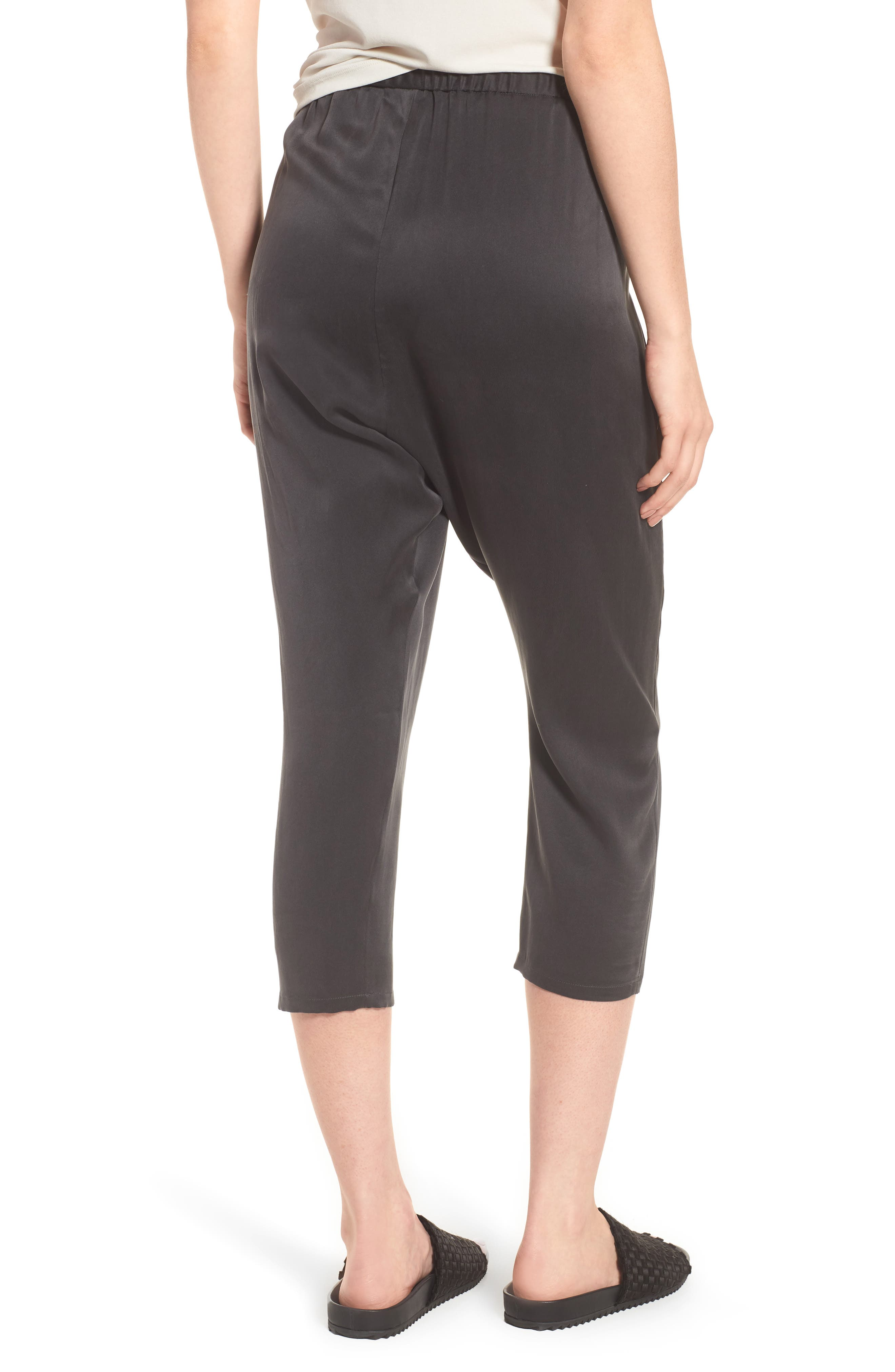 EILEEN FISHER,                             Slouchy Silk Crop Pants,                             Alternate thumbnail 2, color,                             025