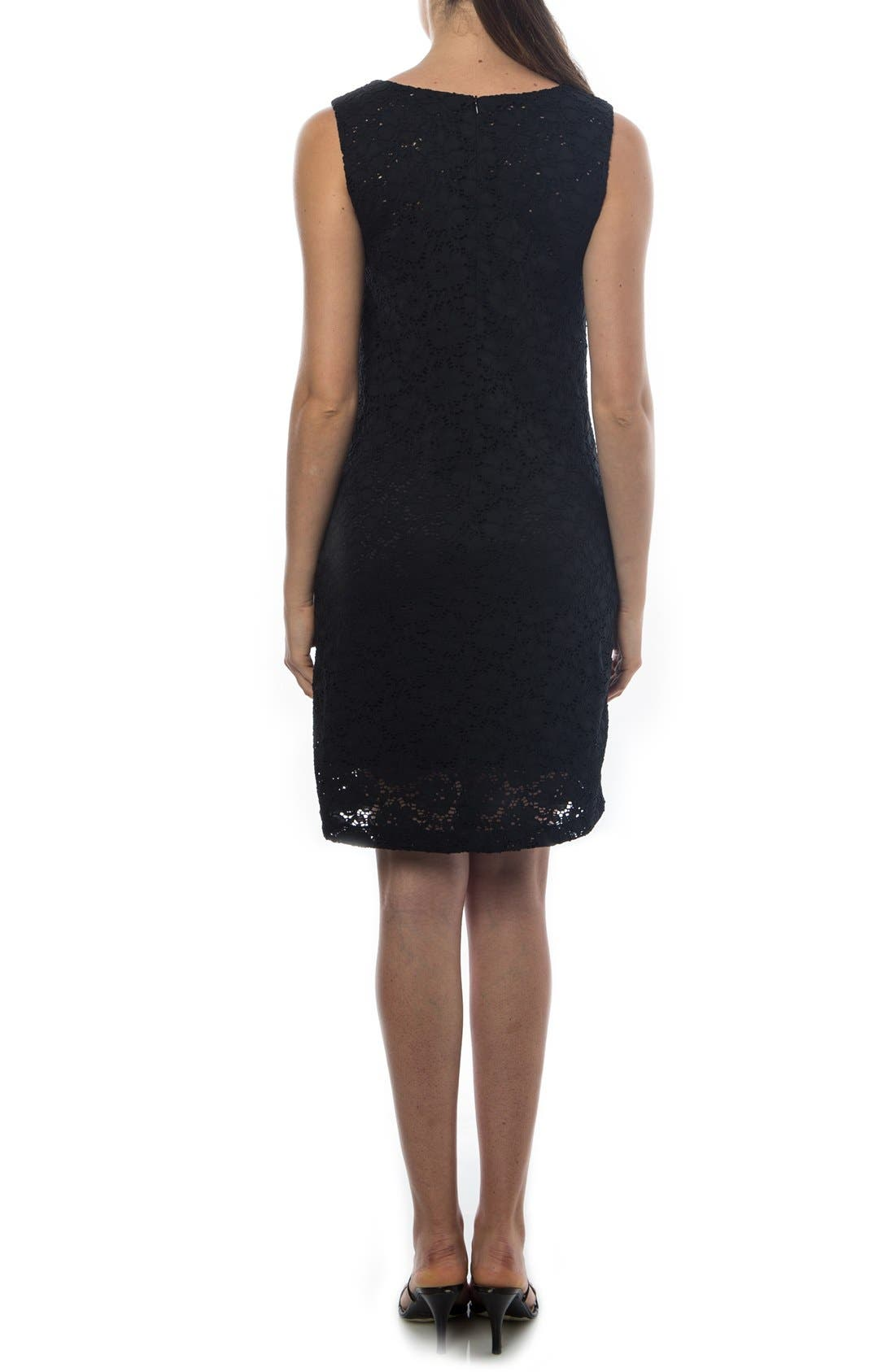 'Danubio' Lace Maternity Shift Dress,                             Alternate thumbnail 2, color,                             BLACK