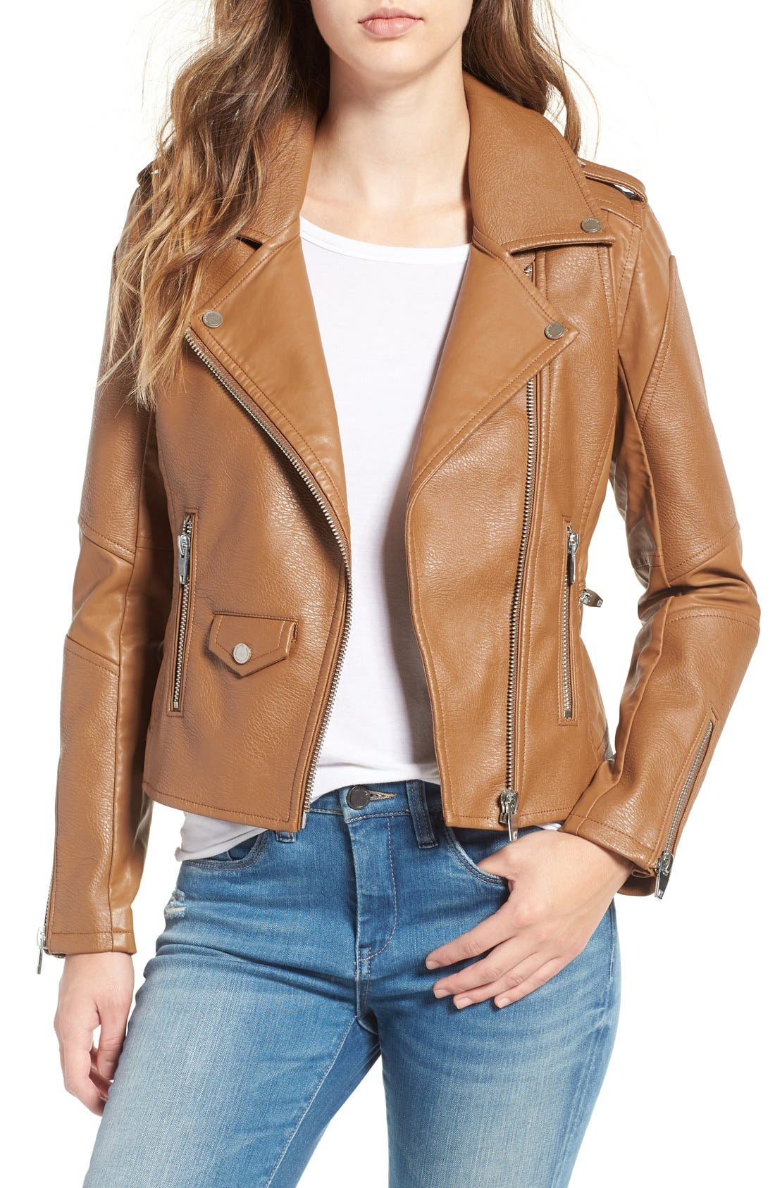 'Easy Rider' Faux Leather Moto Jacket,                             Main thumbnail 4, color,