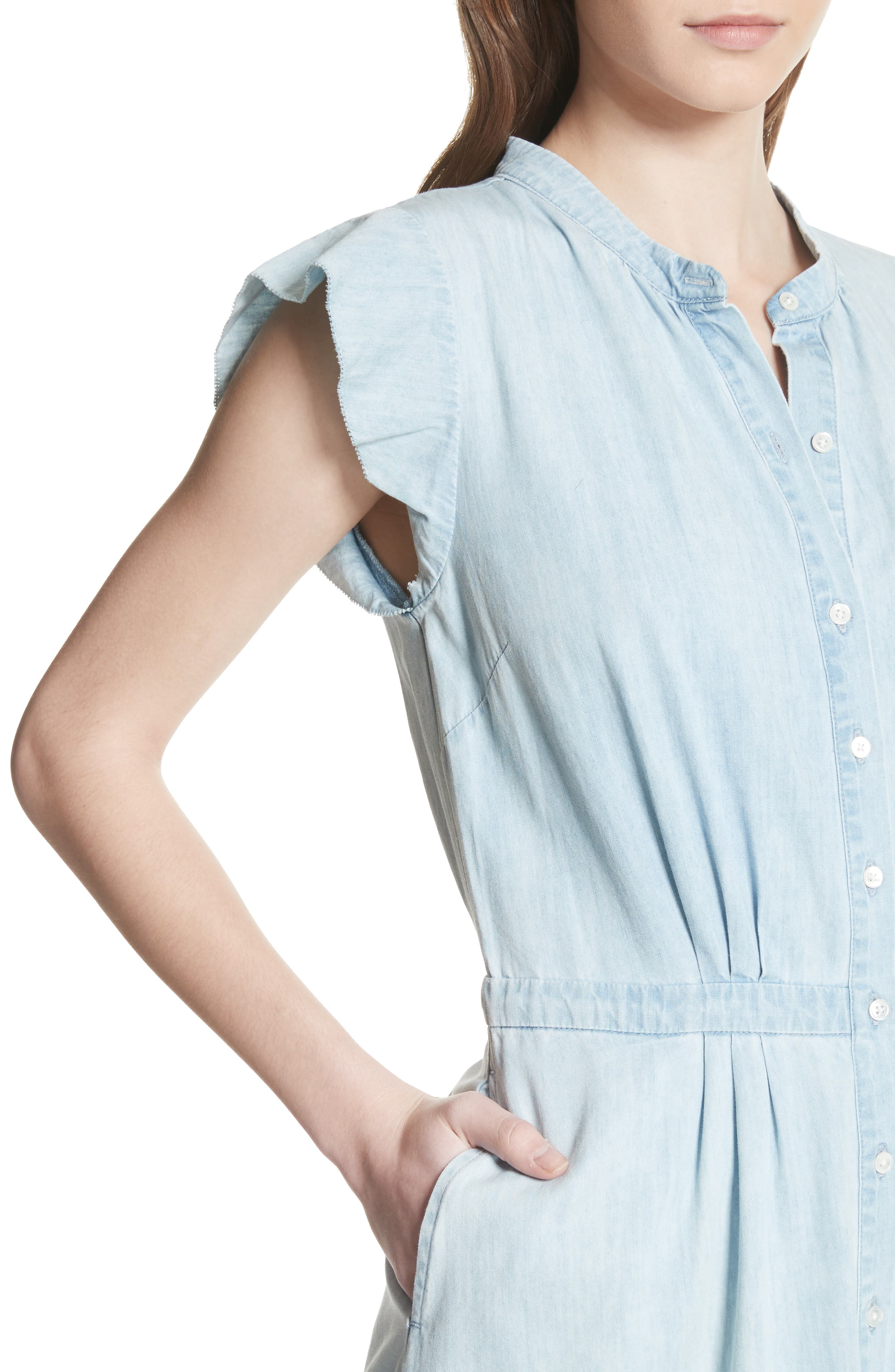 Awel Ruffle Chambray Shirtdress,                             Alternate thumbnail 4, color,
