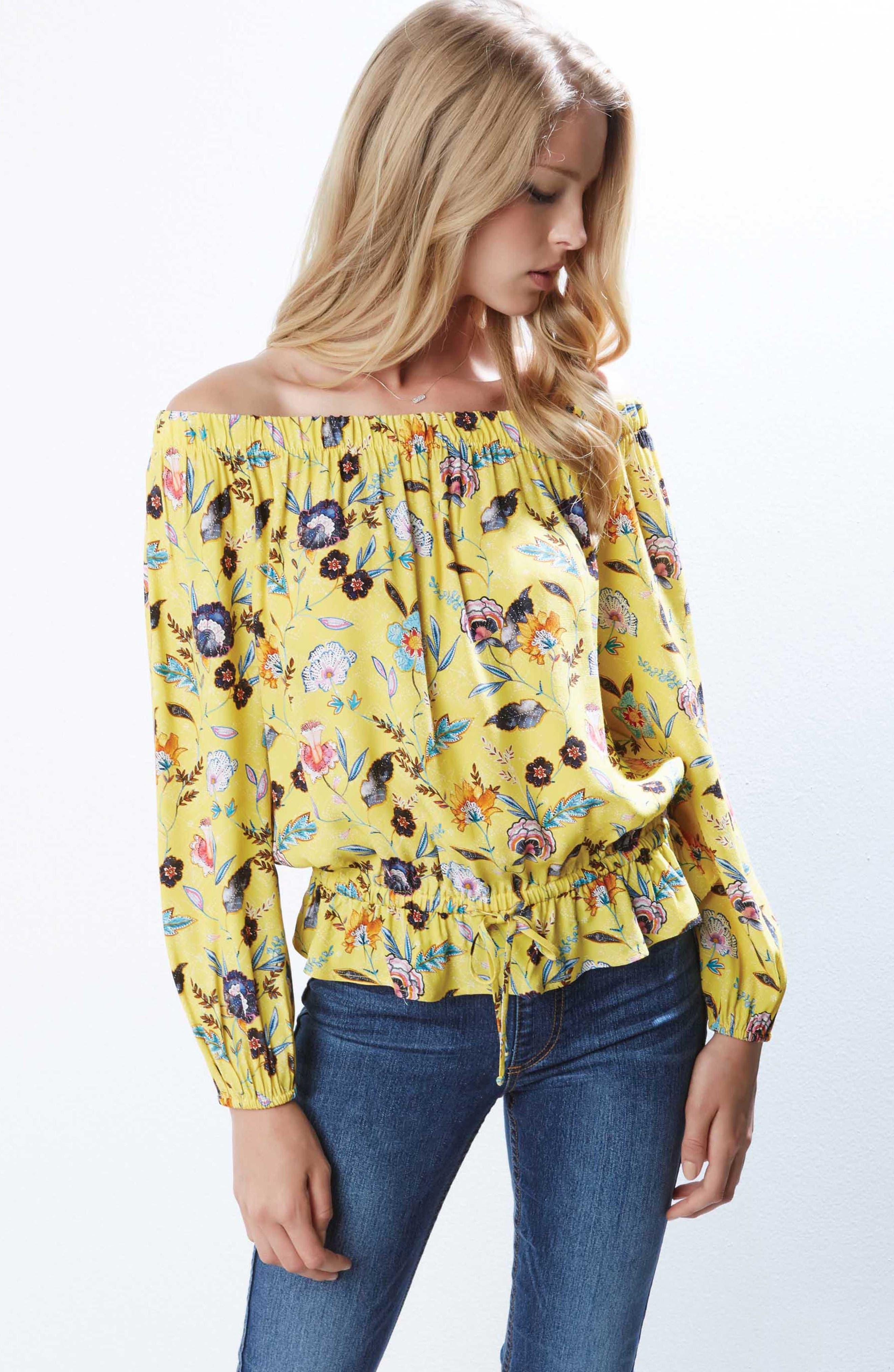 Lemonade Floral Blouson Top,                             Alternate thumbnail 3, color,                             760