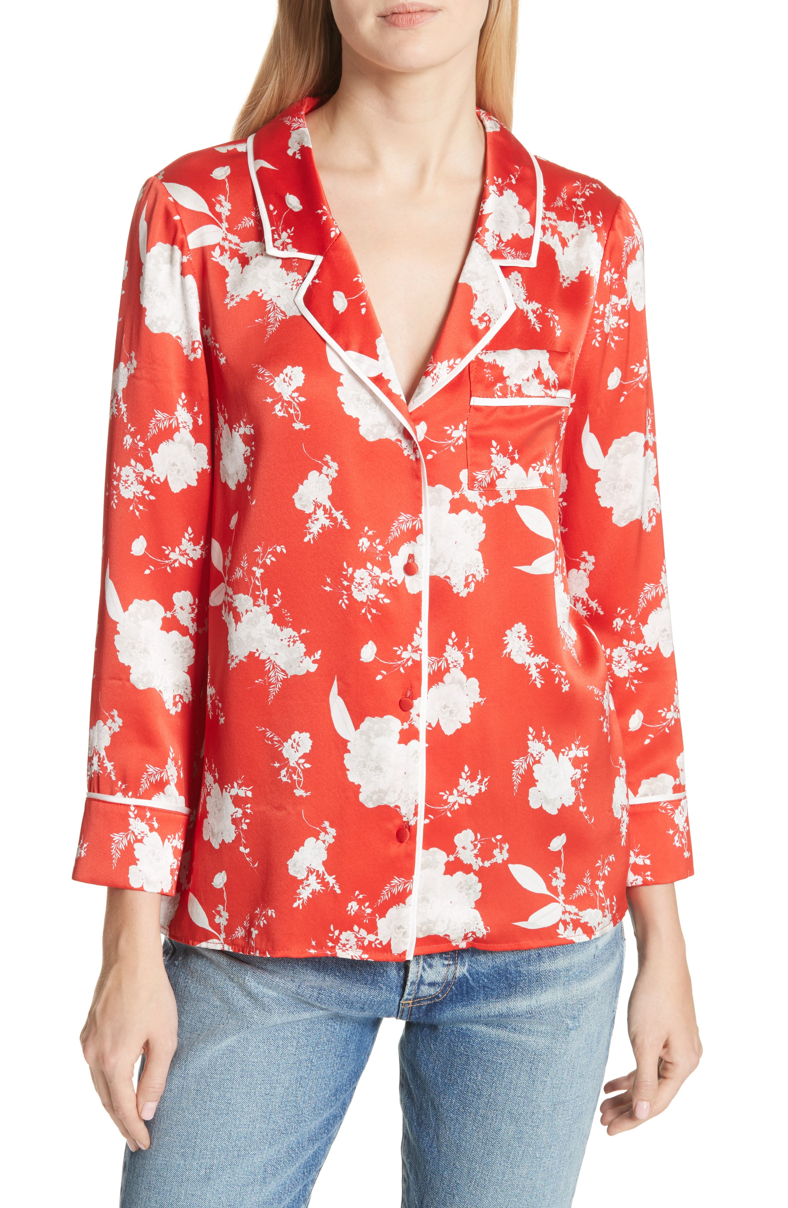 Keir Floral Silk Pajama Shirt,                         Main,                         color, 606