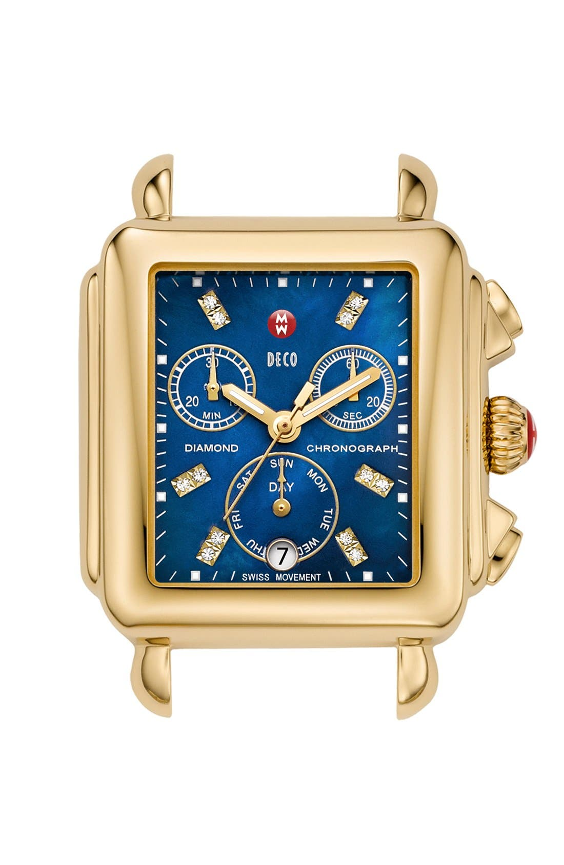 Deco Diamond Dial Gold Plated Watch Case, 33mm x 35mm,                             Main thumbnail 9, color,
