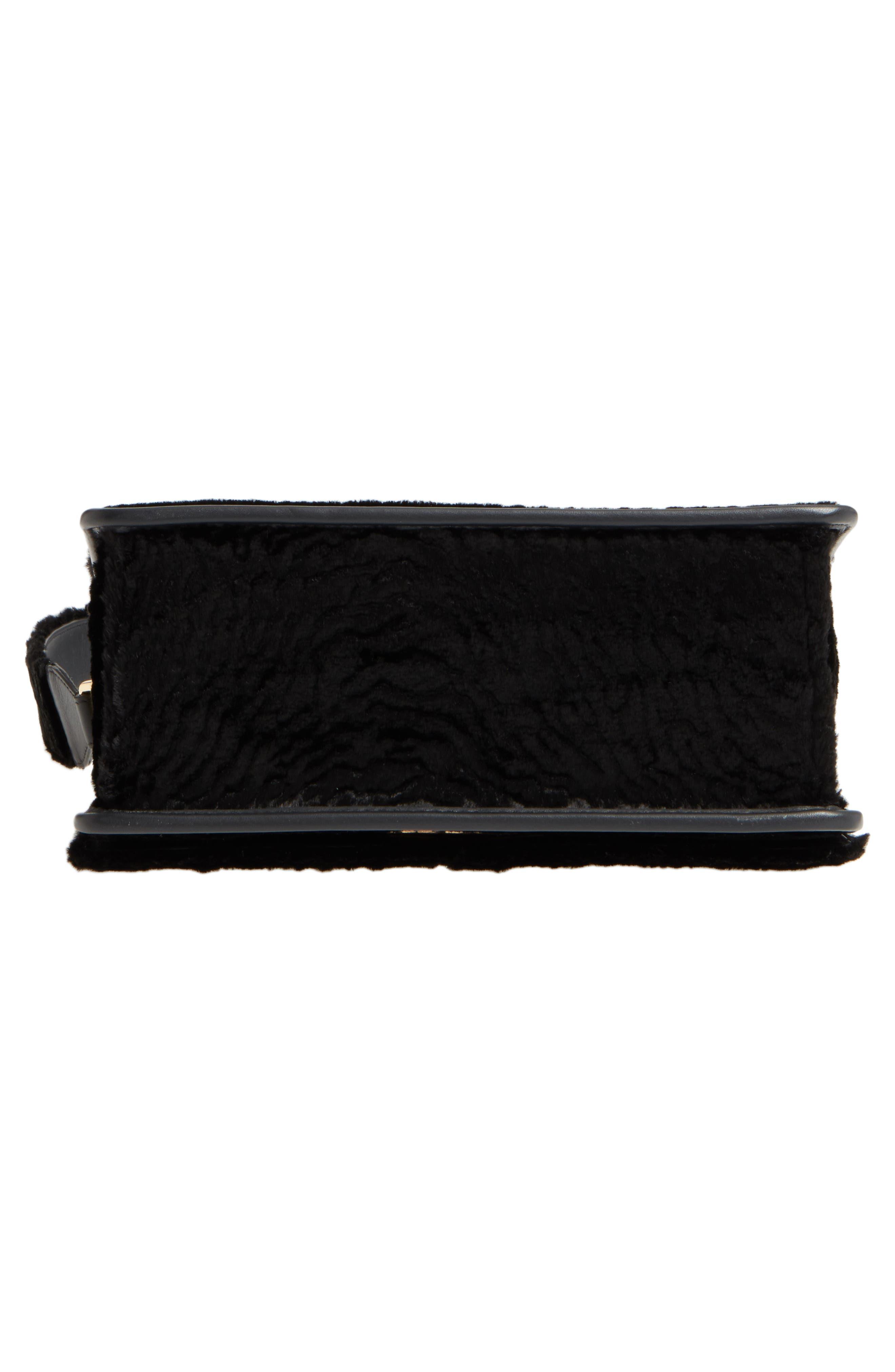 Kan I Logo Velvet Shoulder Bag,                             Alternate thumbnail 6, color,                             BLACK