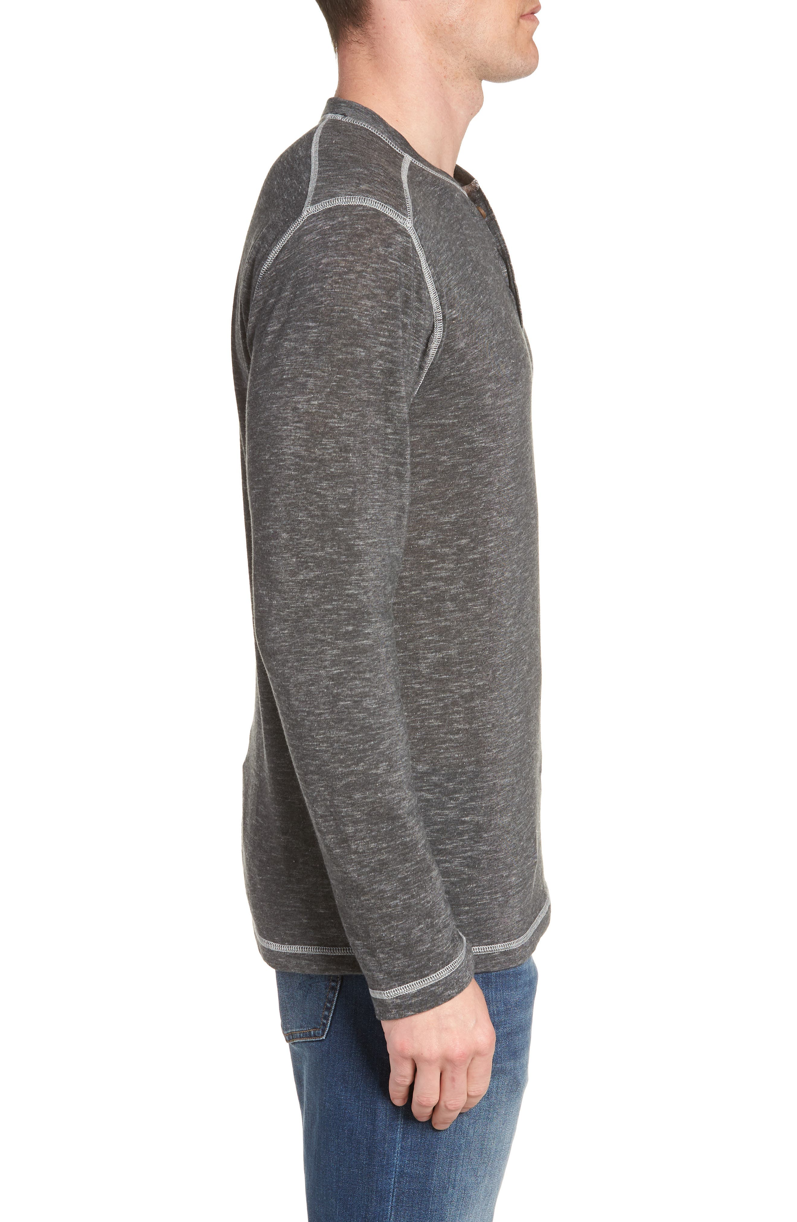Space Dyed Long Sleeve Henley,                             Alternate thumbnail 3, color,                             CHARCOAL