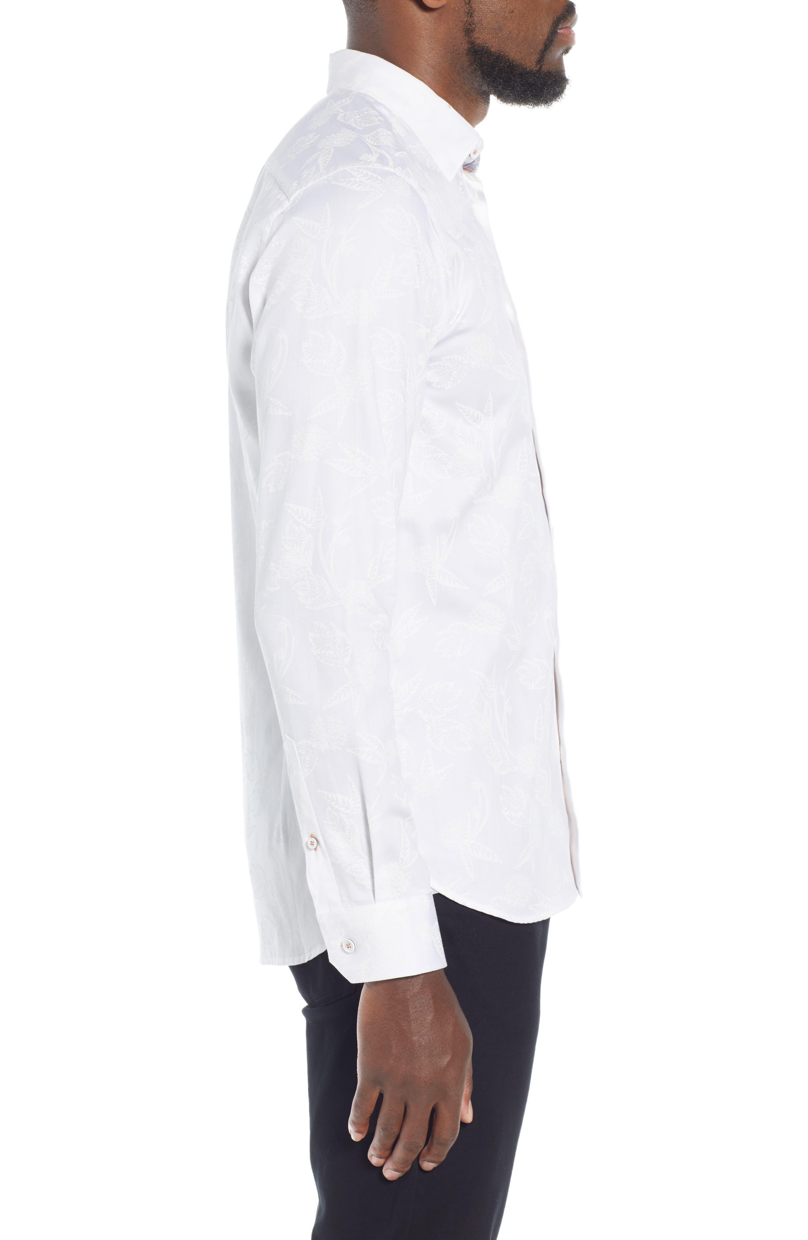 Holborn Trim Fit Print Sport Shirt,                             Alternate thumbnail 4, color,                             WHITE