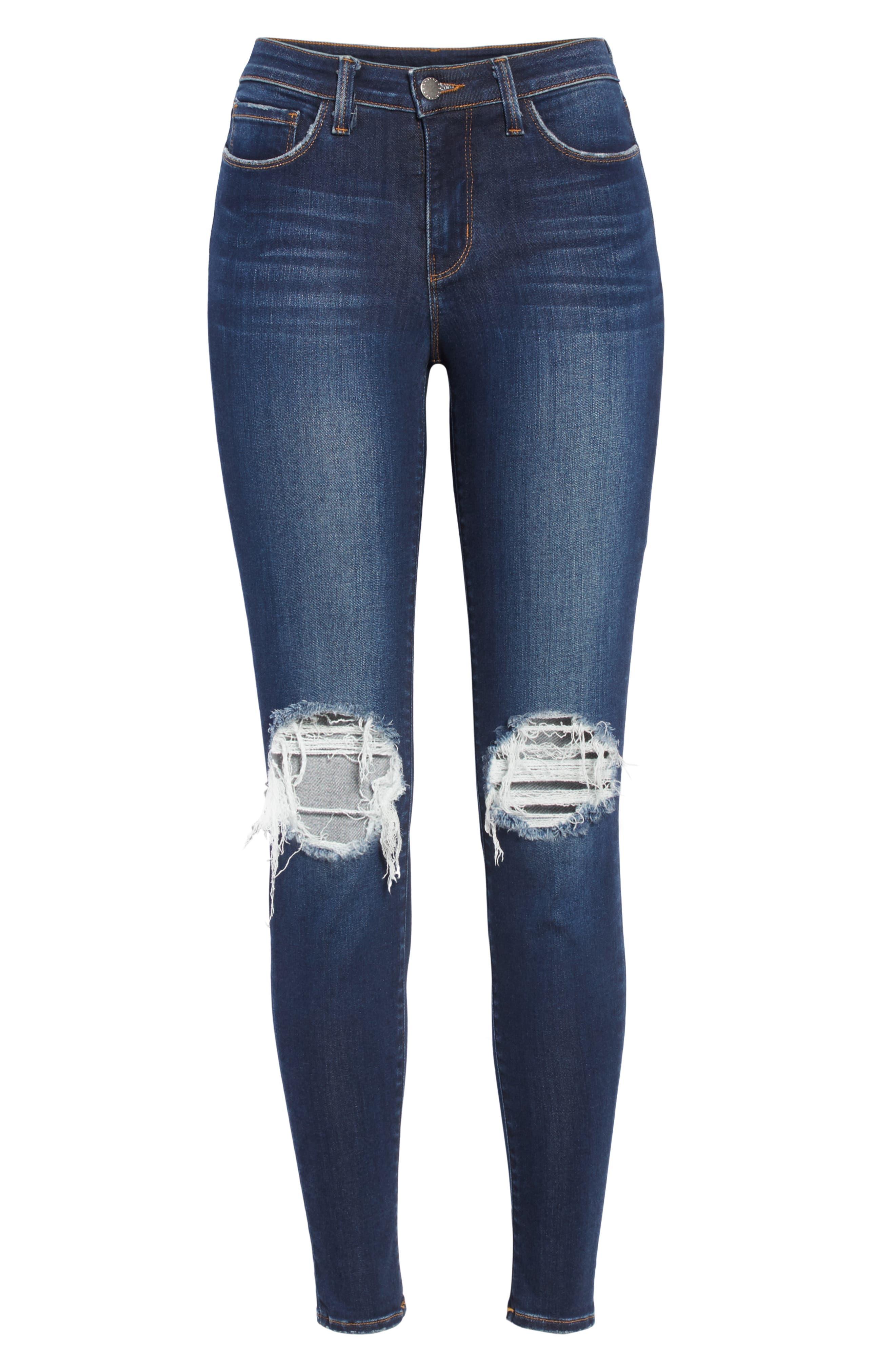 Margot Ripped Skinny Jeans,                             Alternate thumbnail 6, color,                             BALTIC DESTRUCT