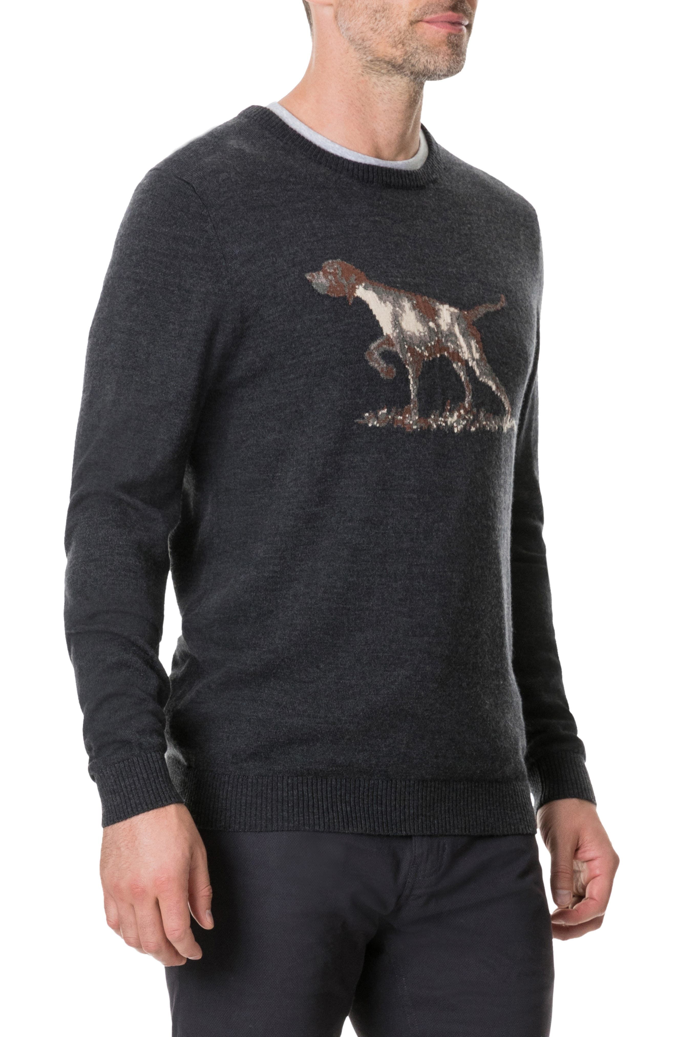 Calderwell Pointer Intarsia Knit Wool Sweater,                             Alternate thumbnail 3, color,                             CHARCOAL