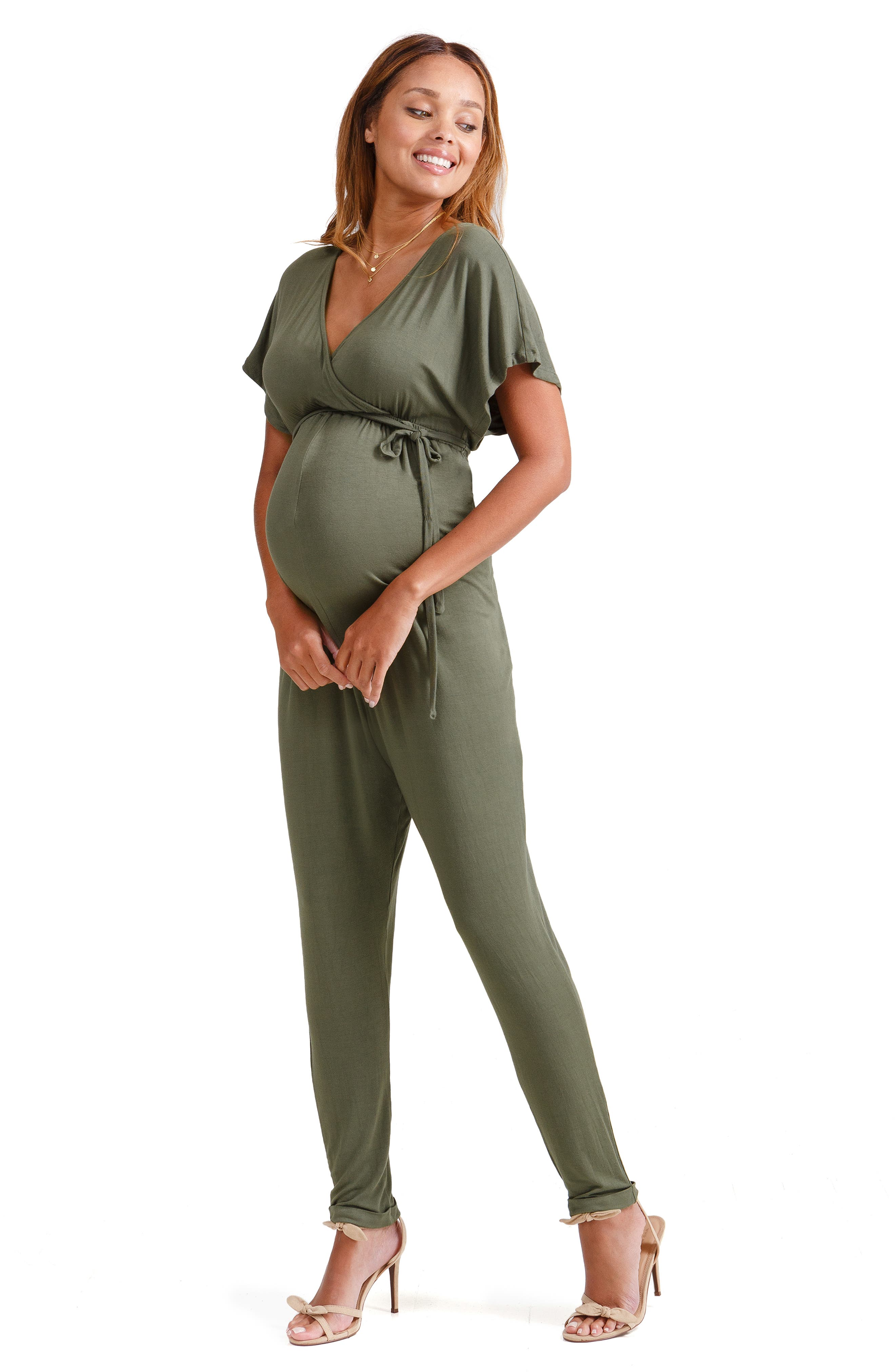 Crossover Maternity Jumpsuit,                             Alternate thumbnail 5, color,                             OLIVE