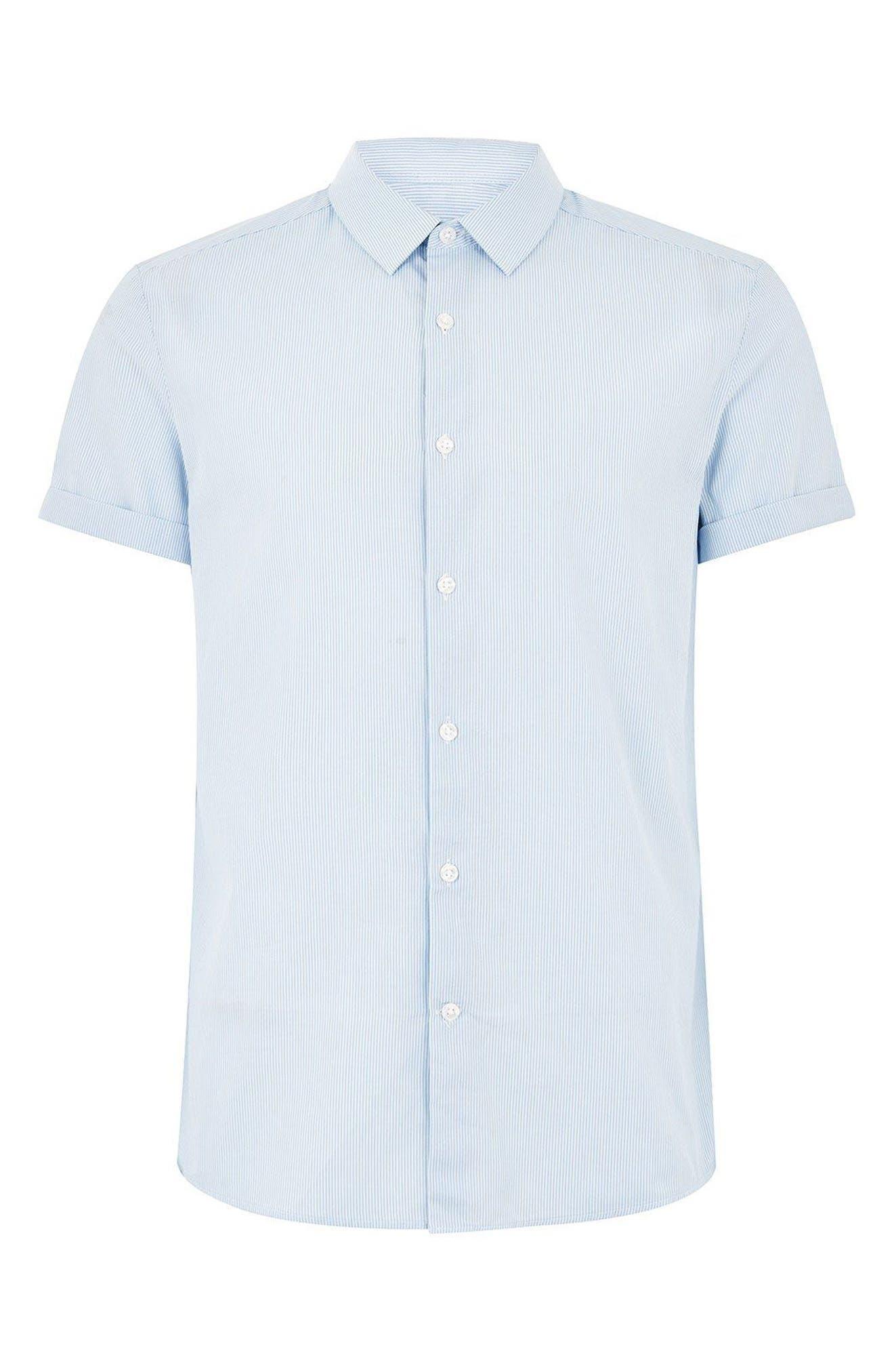 Slim Fit Stripe Shirt,                             Alternate thumbnail 5, color,                             BLUE BULTI