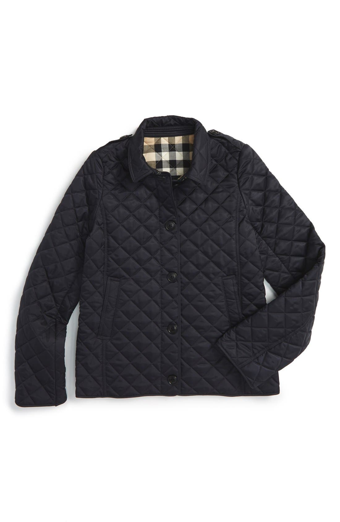BURBERRY,                             'Mini Ashurst' Quilted Jacket,                             Main thumbnail 1, color,                             410