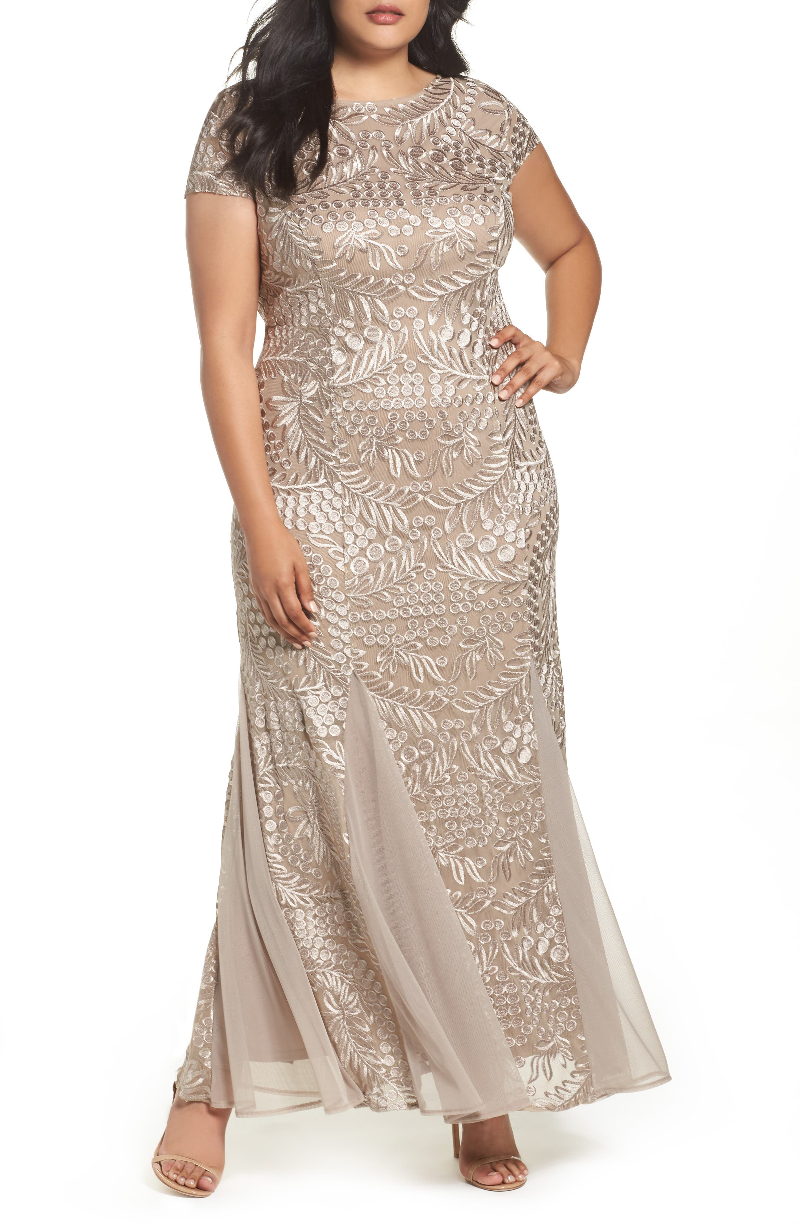 Cowl Back Embroidered Lace Gown,                             Main thumbnail 1, color,                             026