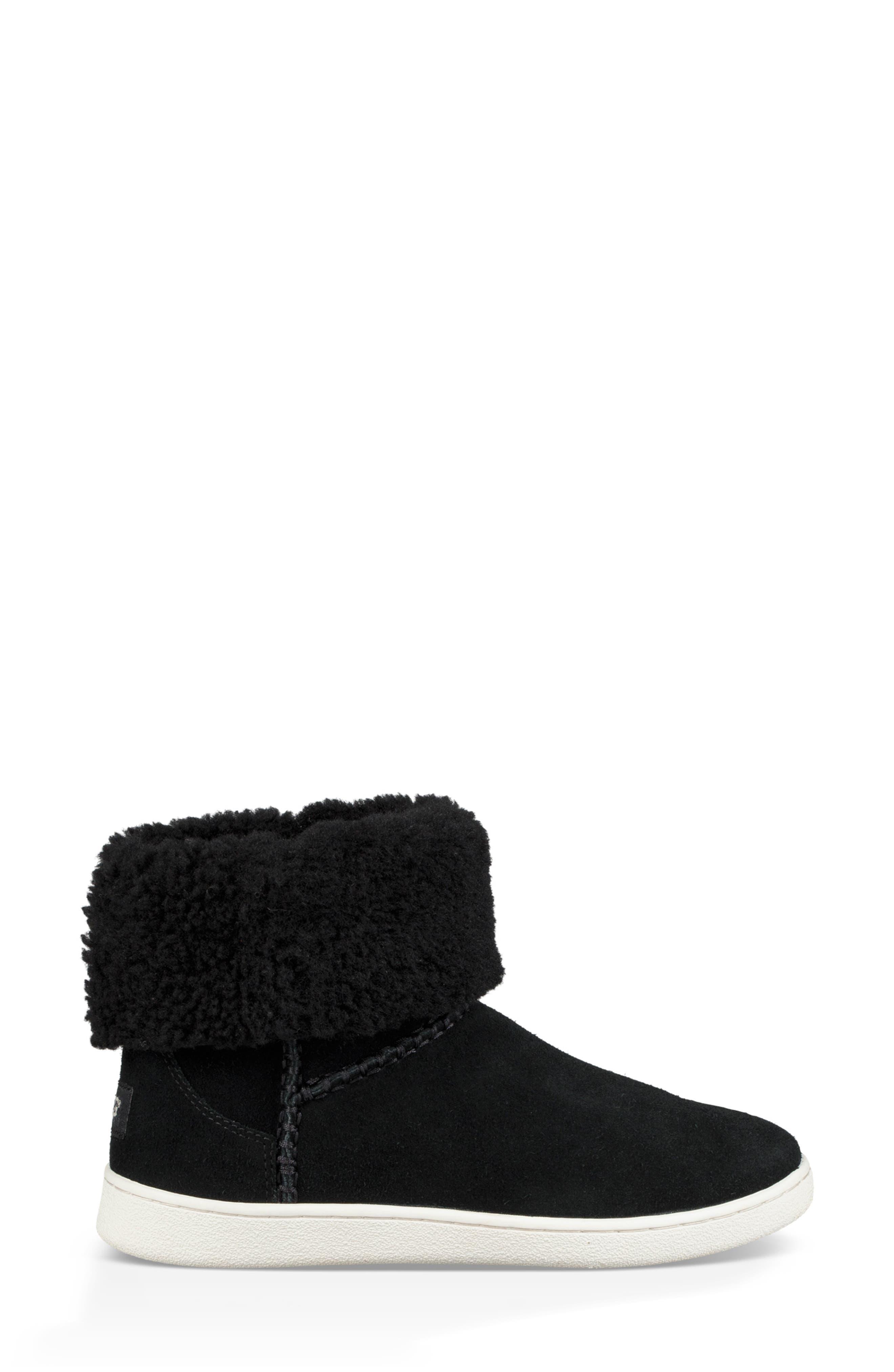 Mika Classic Genuine Shearling Sneaker,                             Alternate thumbnail 4, color,                             BLACK