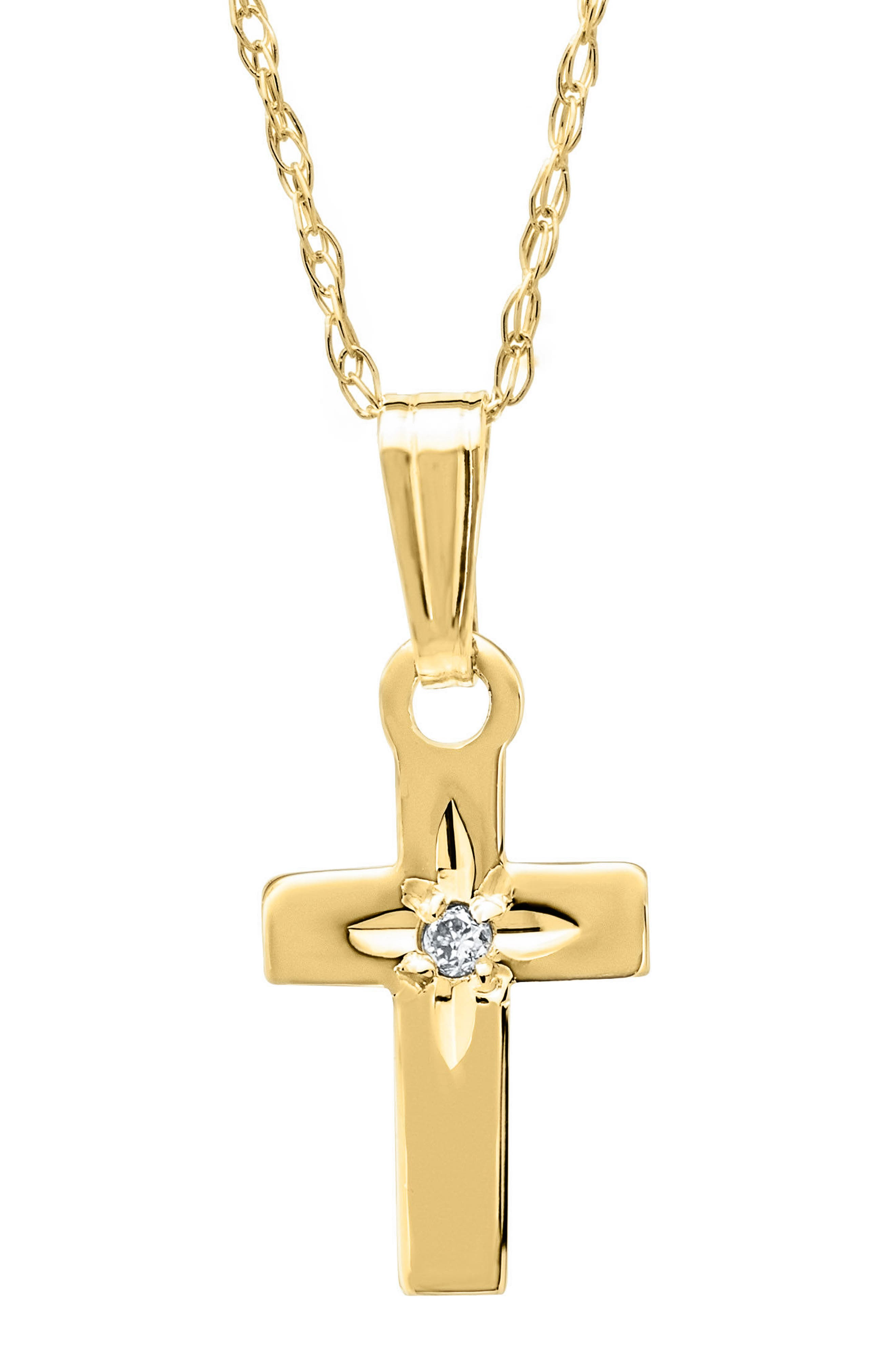 14k Gold & Diamond Cross Necklace,                             Main thumbnail 1, color,                             GOLD