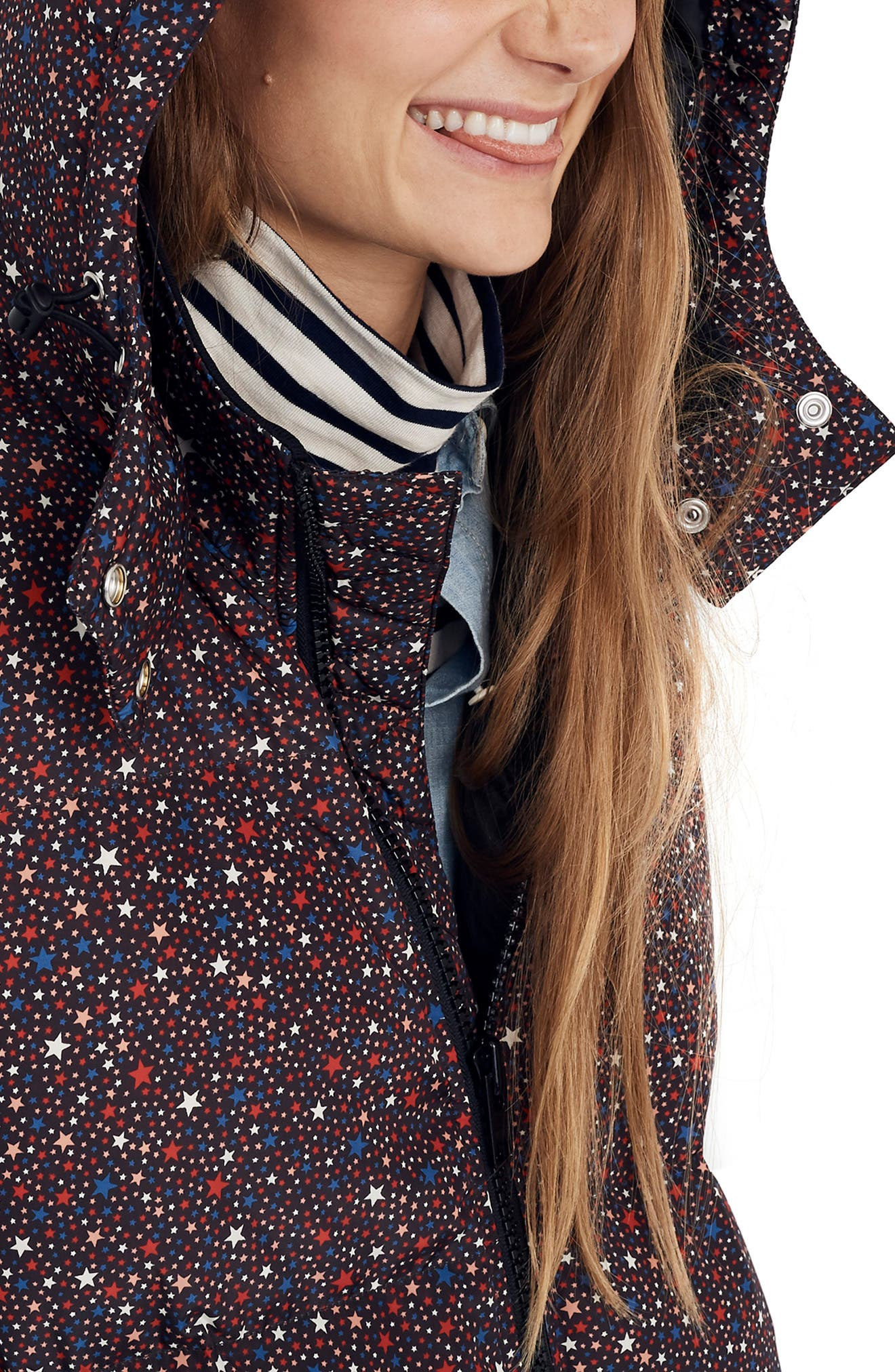 Starry Night Quilted Puffer Parka,                             Alternate thumbnail 4, color,                             DARK MEDITERRANEAN
