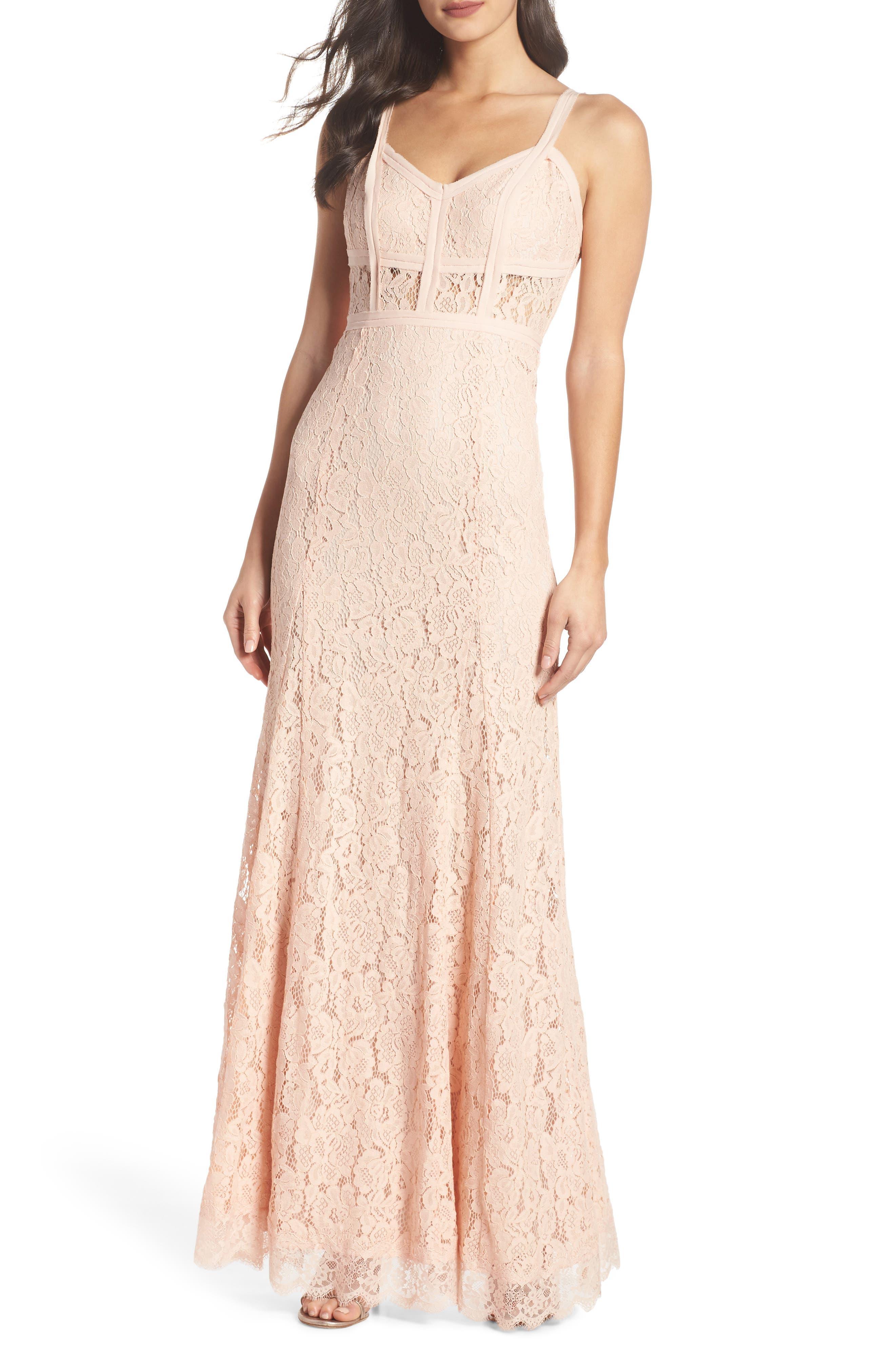 Esti Bustier Bodice Lace Gown,                             Alternate thumbnail 5, color,                             BLUSH