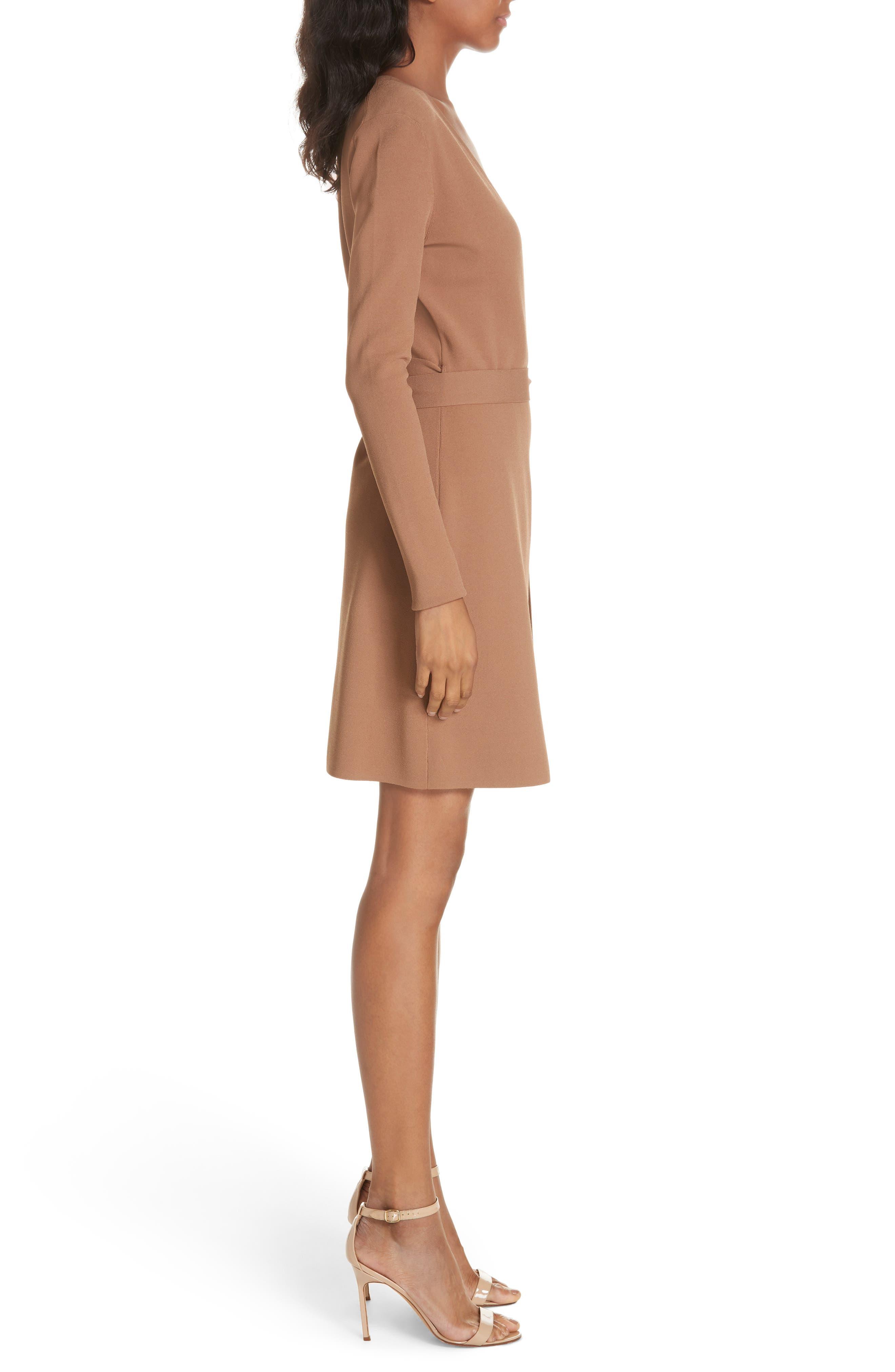 Diane von Furstenberg Knit Wrap Dress,                             Alternate thumbnail 3, color,                             WALNUT