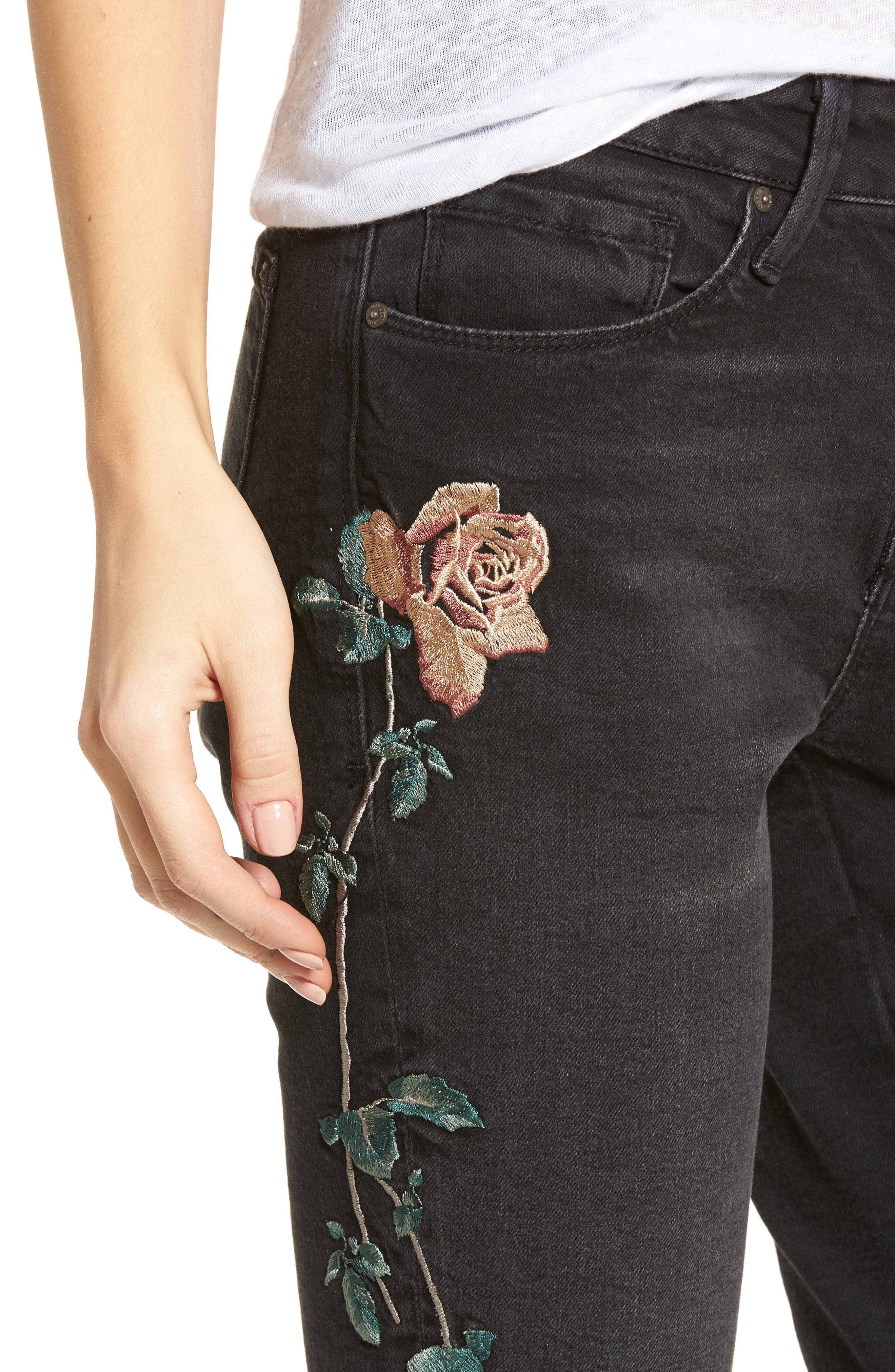 Adriana Embroidered Skinny Jeans,                             Alternate thumbnail 4, color,                             002
