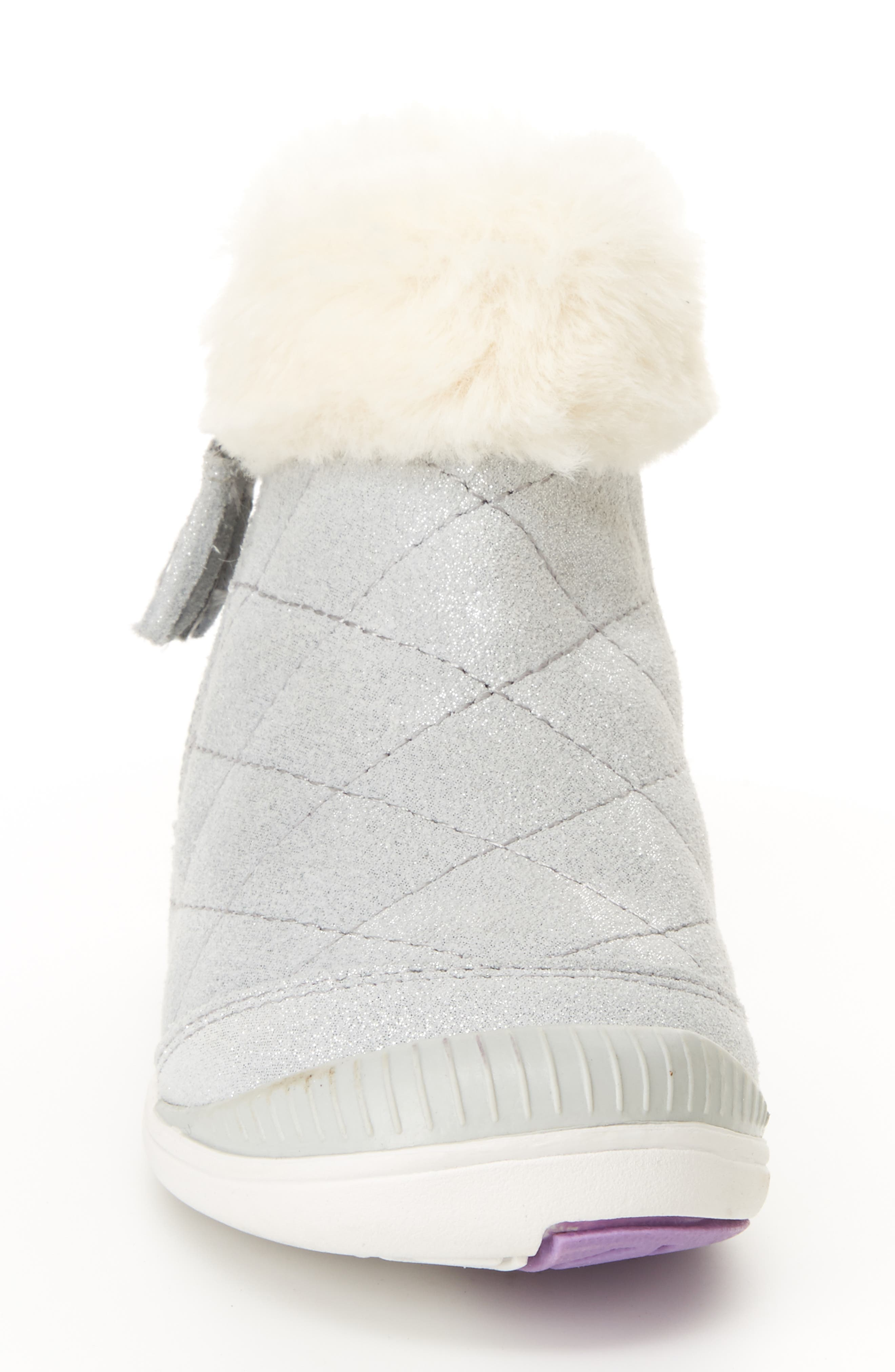 Chloe Faux Fur Quilted Bootie,                             Alternate thumbnail 3, color,                             SILVER